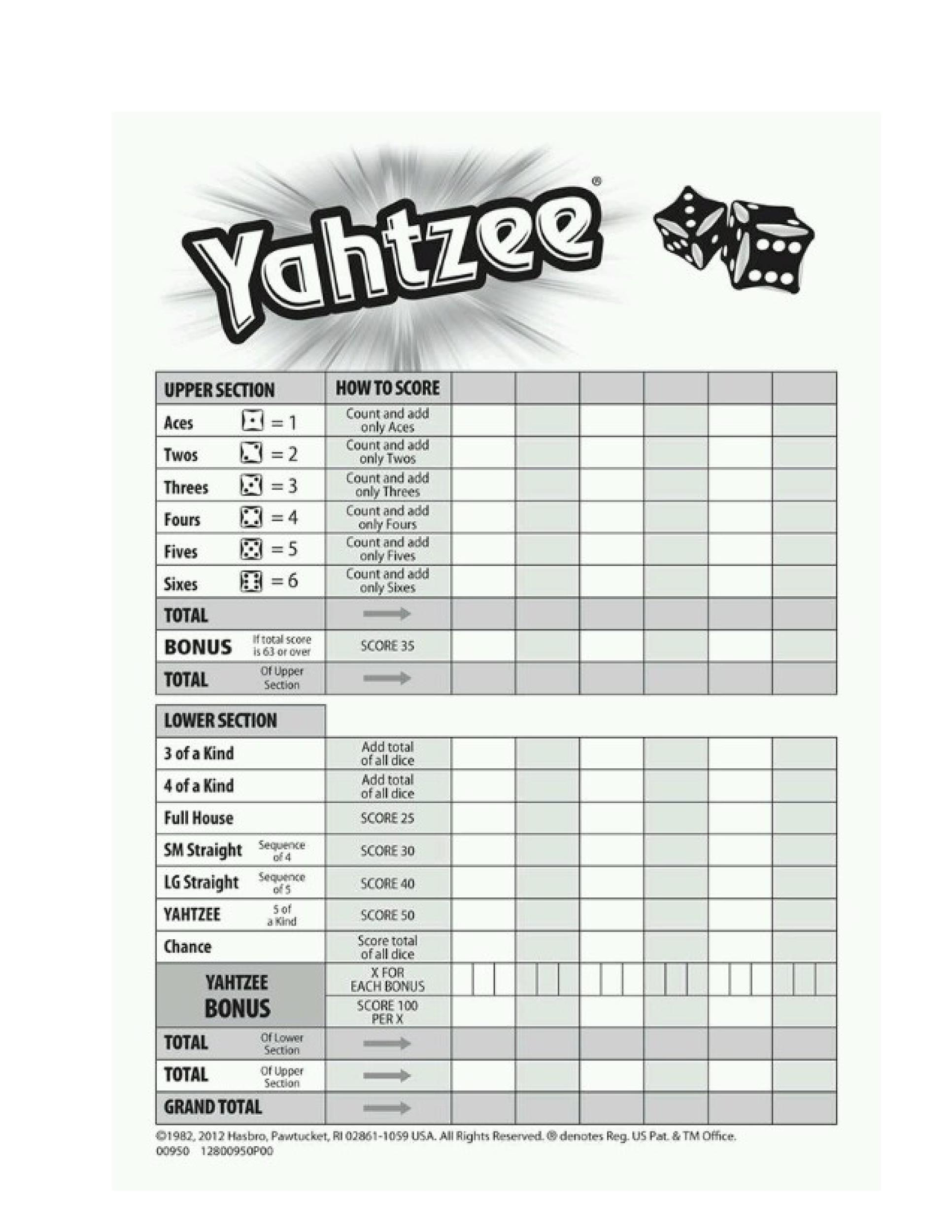 picture about Yahtzee Rules Printable titled 28 Printable Yahtzee Rating Sheets Playing cards (101% Free of charge) ᐅ