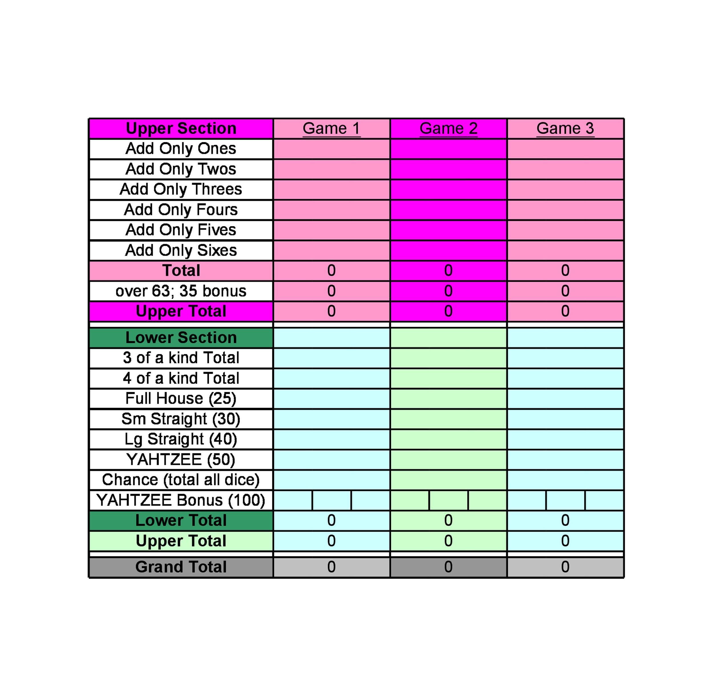 Free Yahtzee Score Sheets 16