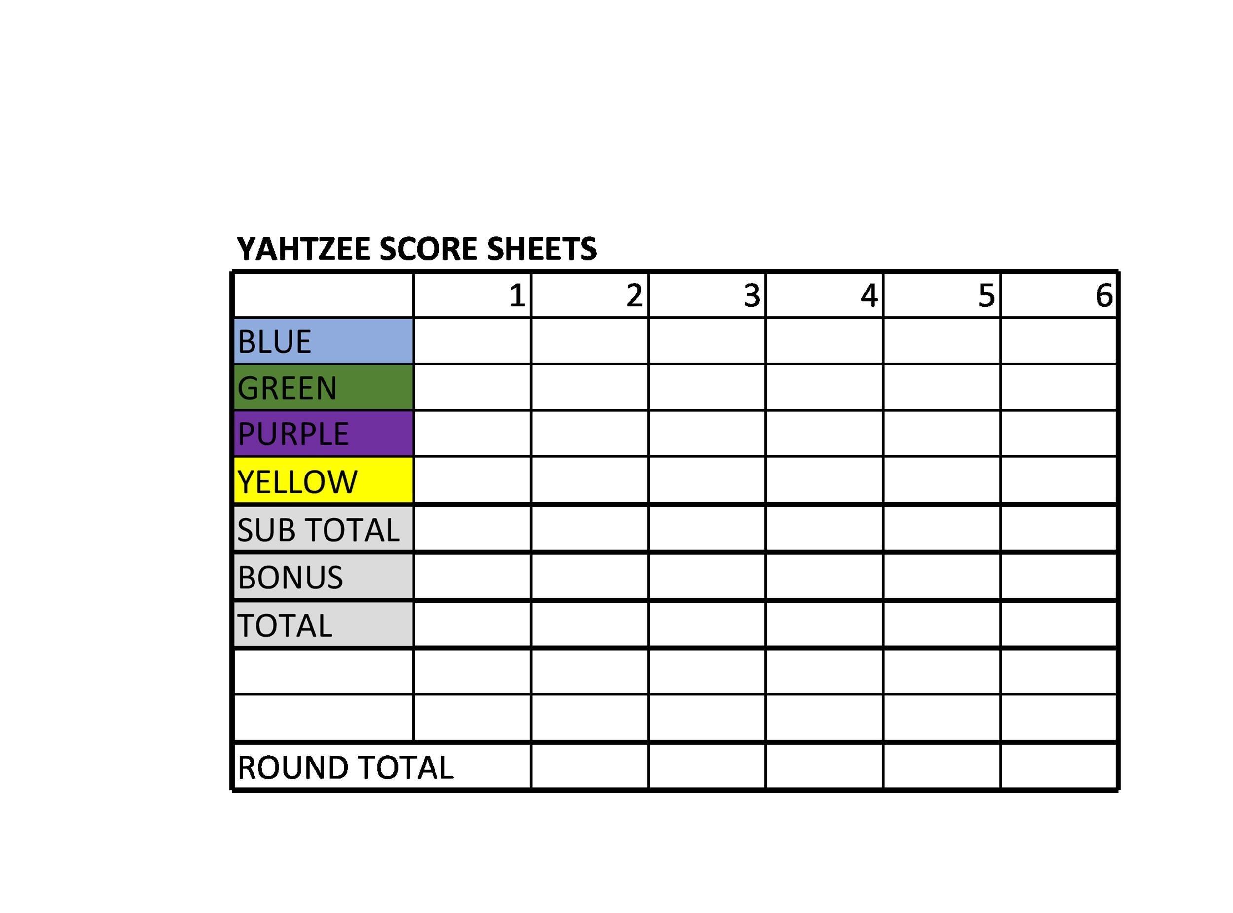 Free Yahtzee Score Sheets 18