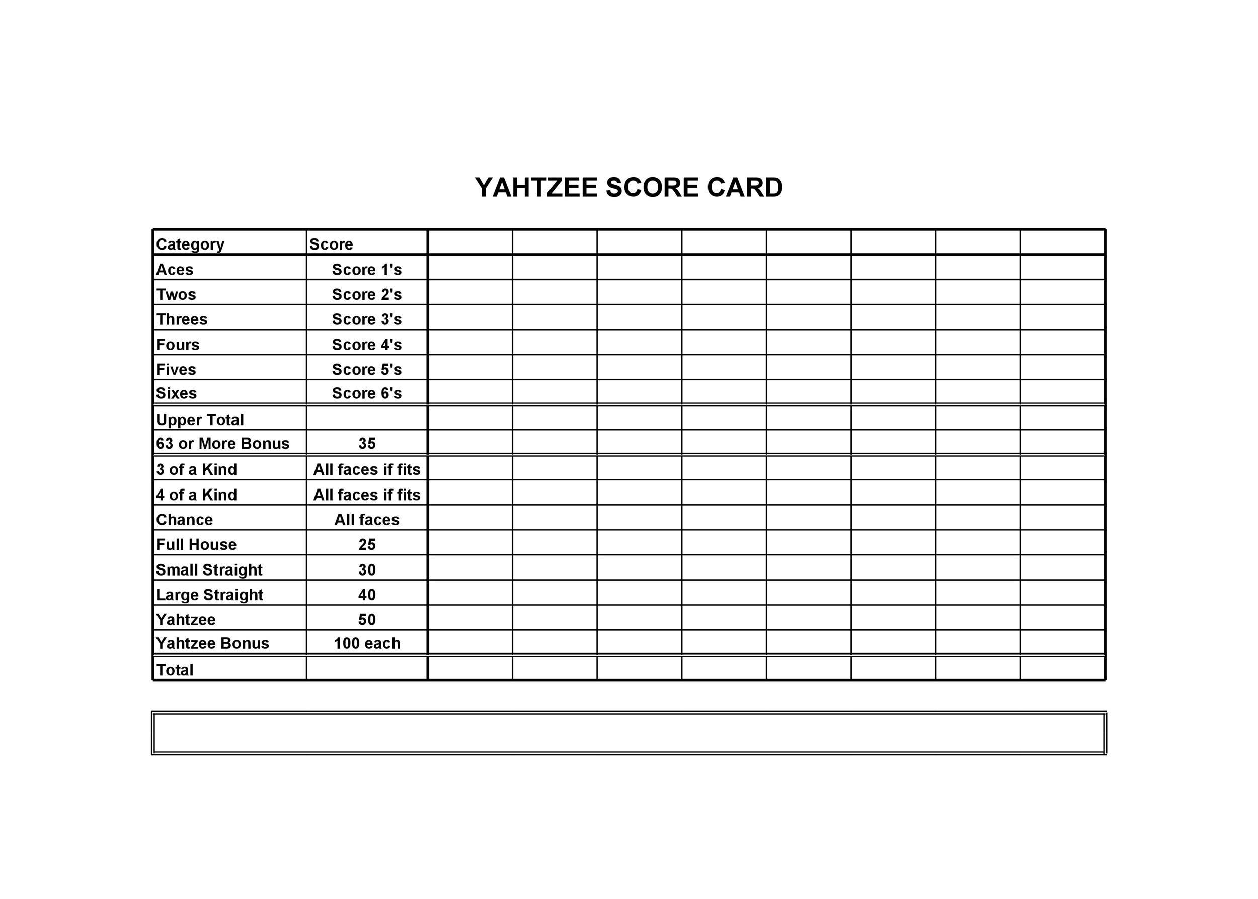 Free Yahtzee Score Sheets 20
