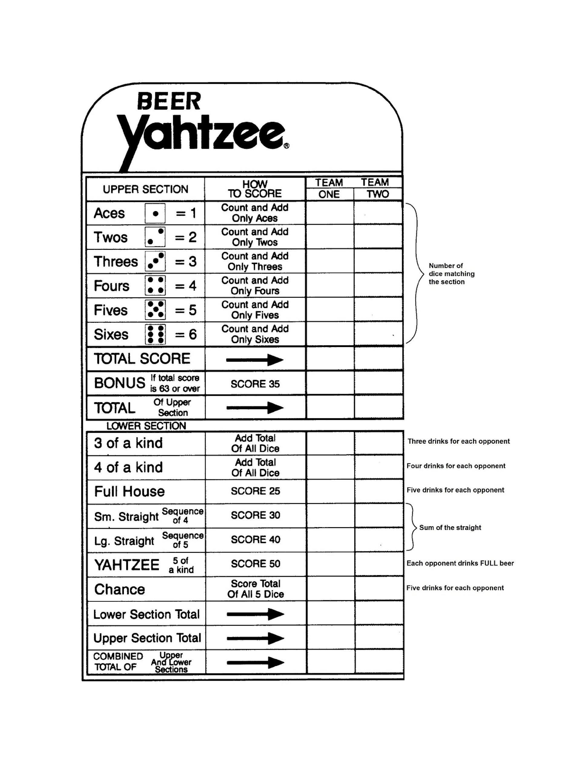 Free Yahtzee Score Sheets 23