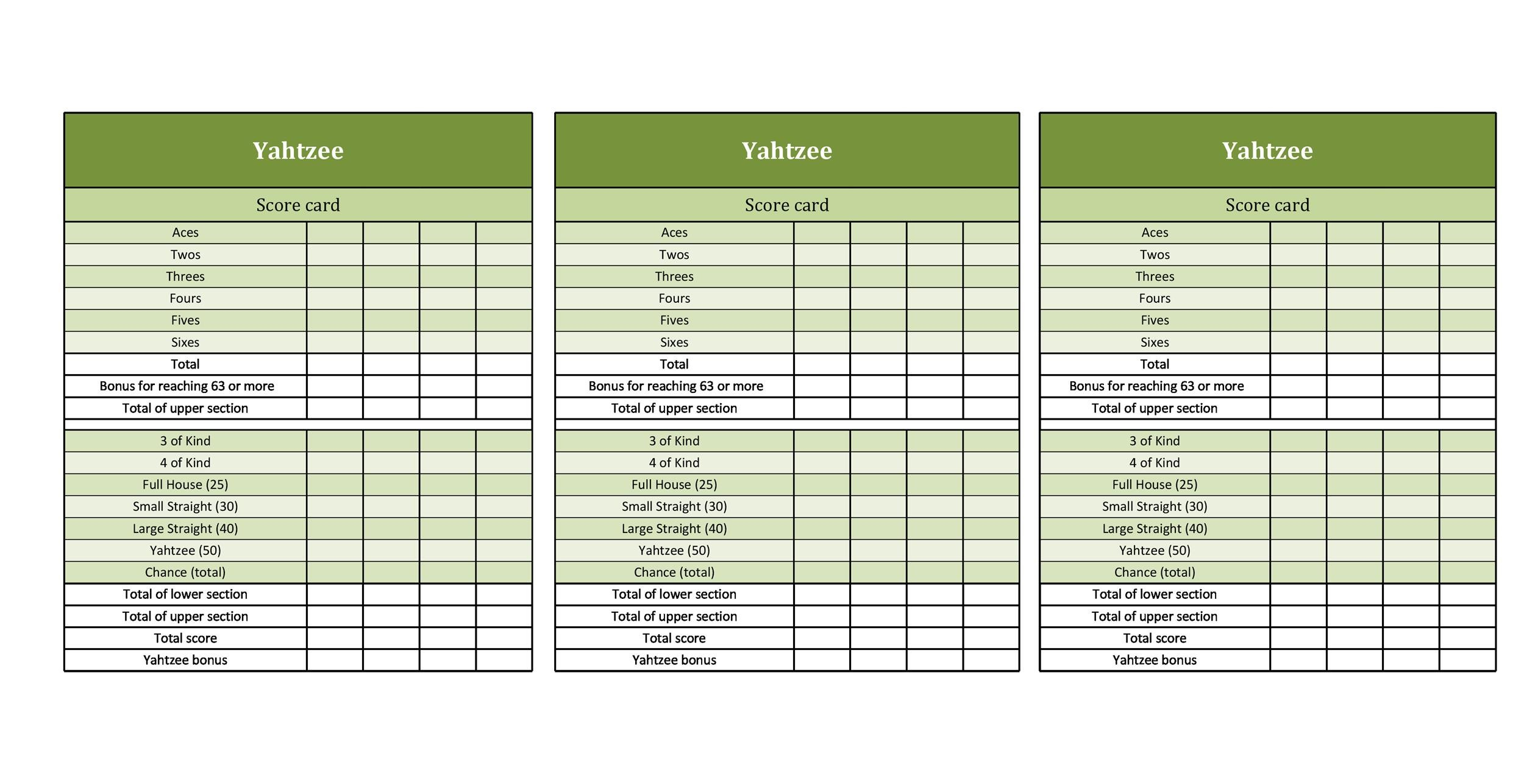 Free Yahtzee Score Sheets 24