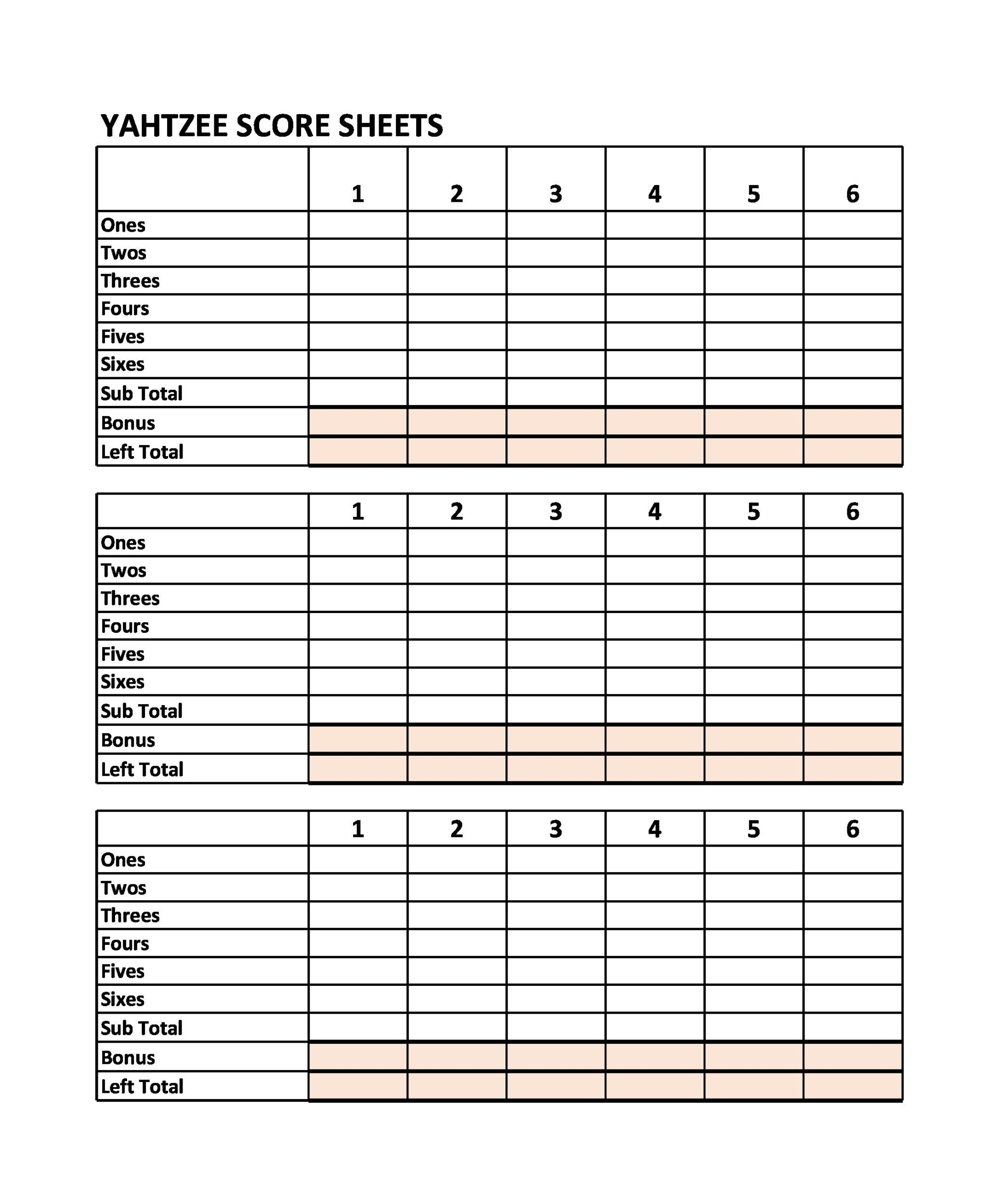 Free Yahtzee Score Sheets 26
