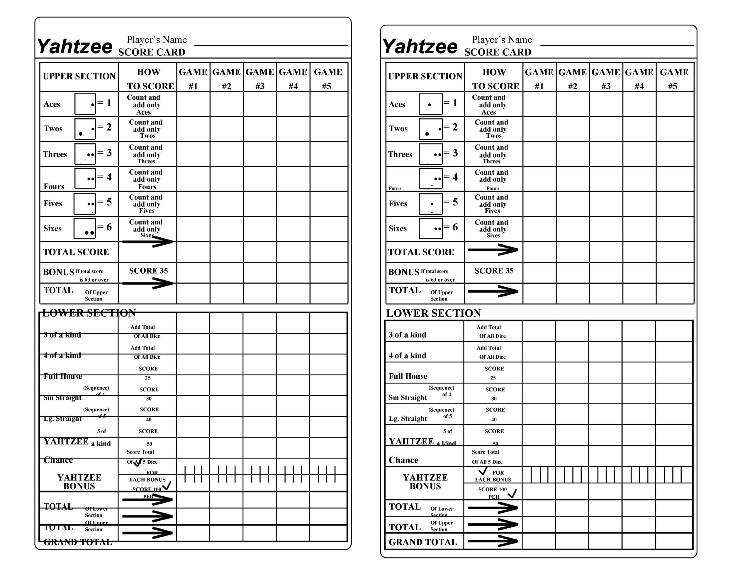 graphic about Yahtzee Printable Score Sheets named 28 Printable Yahtzee Ranking Sheets Playing cards (101% Absolutely free) ᐅ