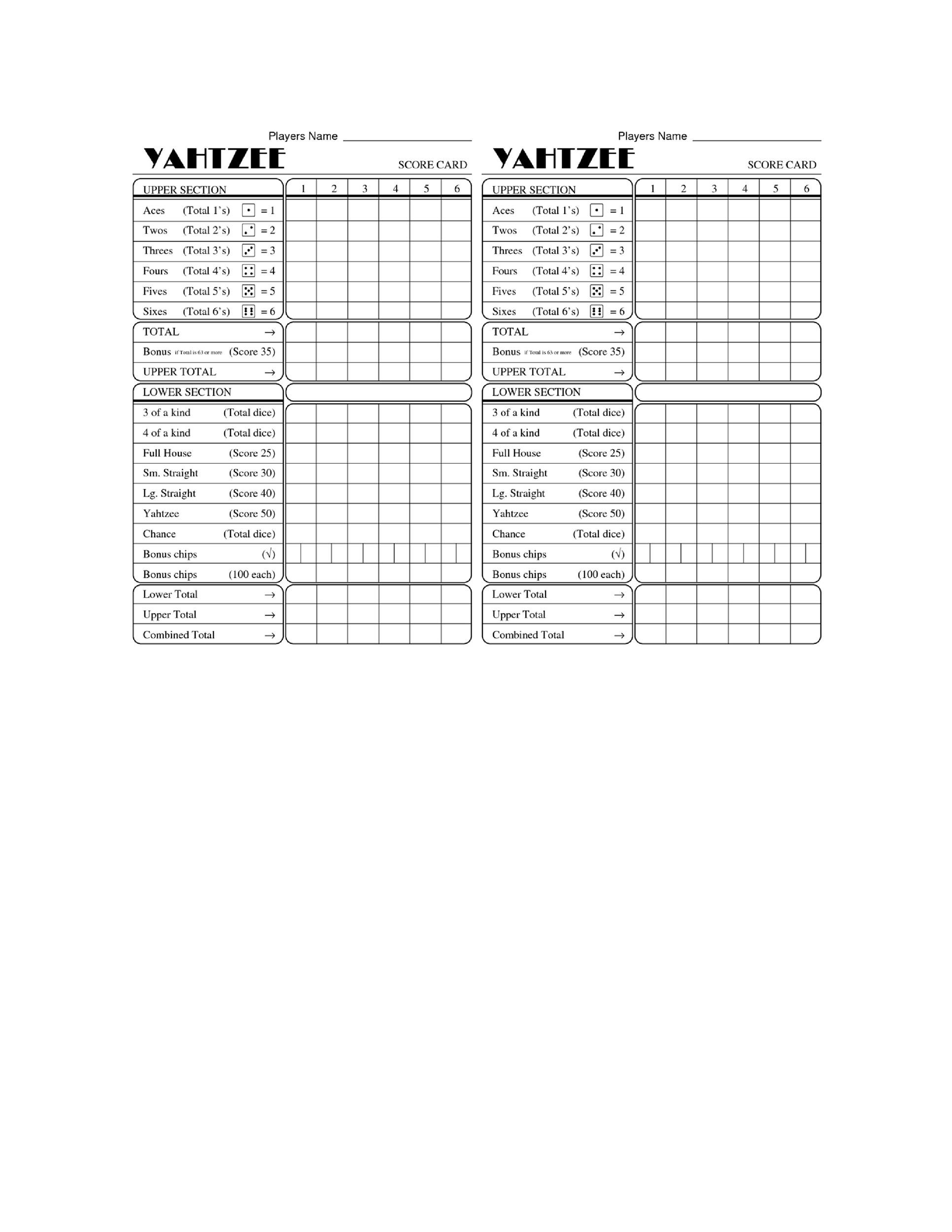 Free Yahtzee Score Sheets 30