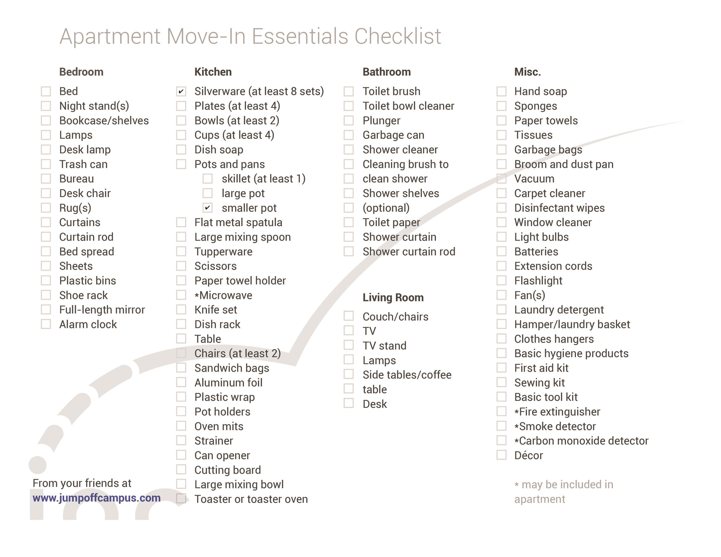 First / New Apartment Checklist - 40 Essential Templates ...