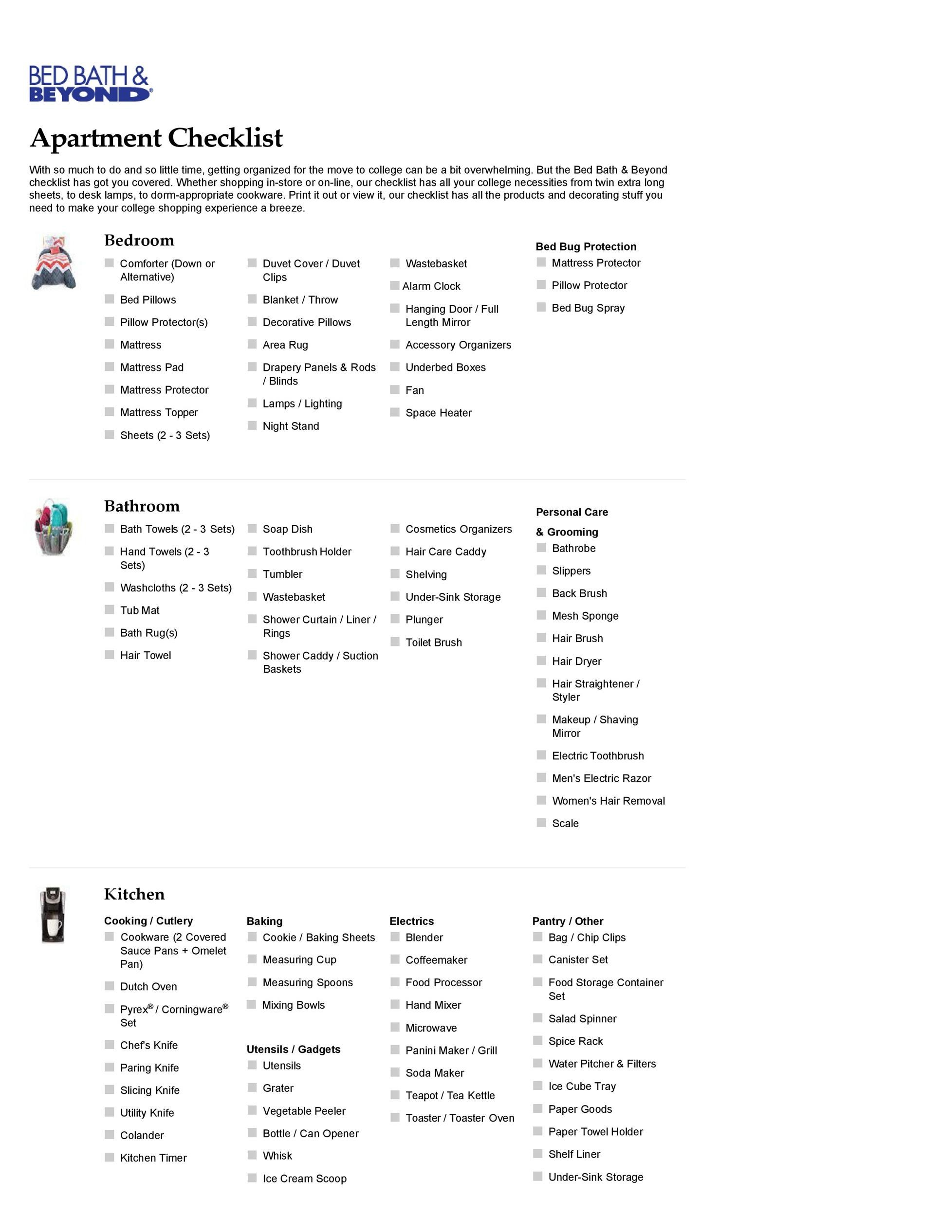 Free apartment checklist 10