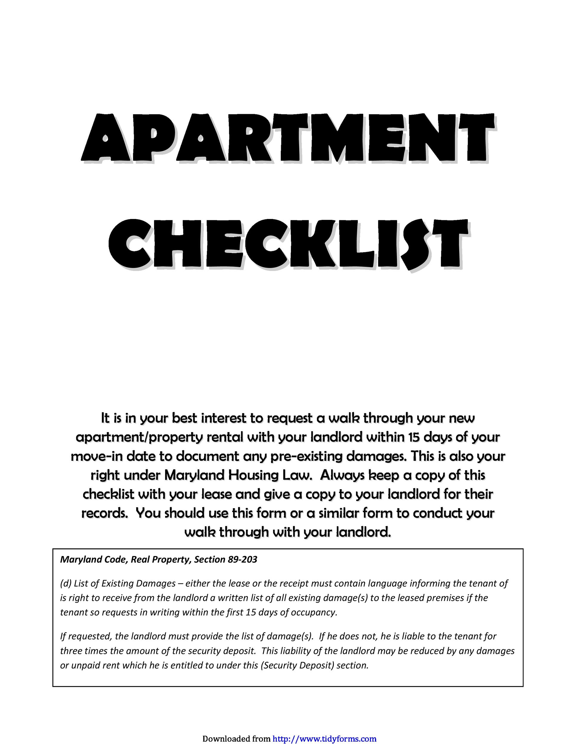 First / New Apartment Checklist - 40 Essential Templates - Template Lab