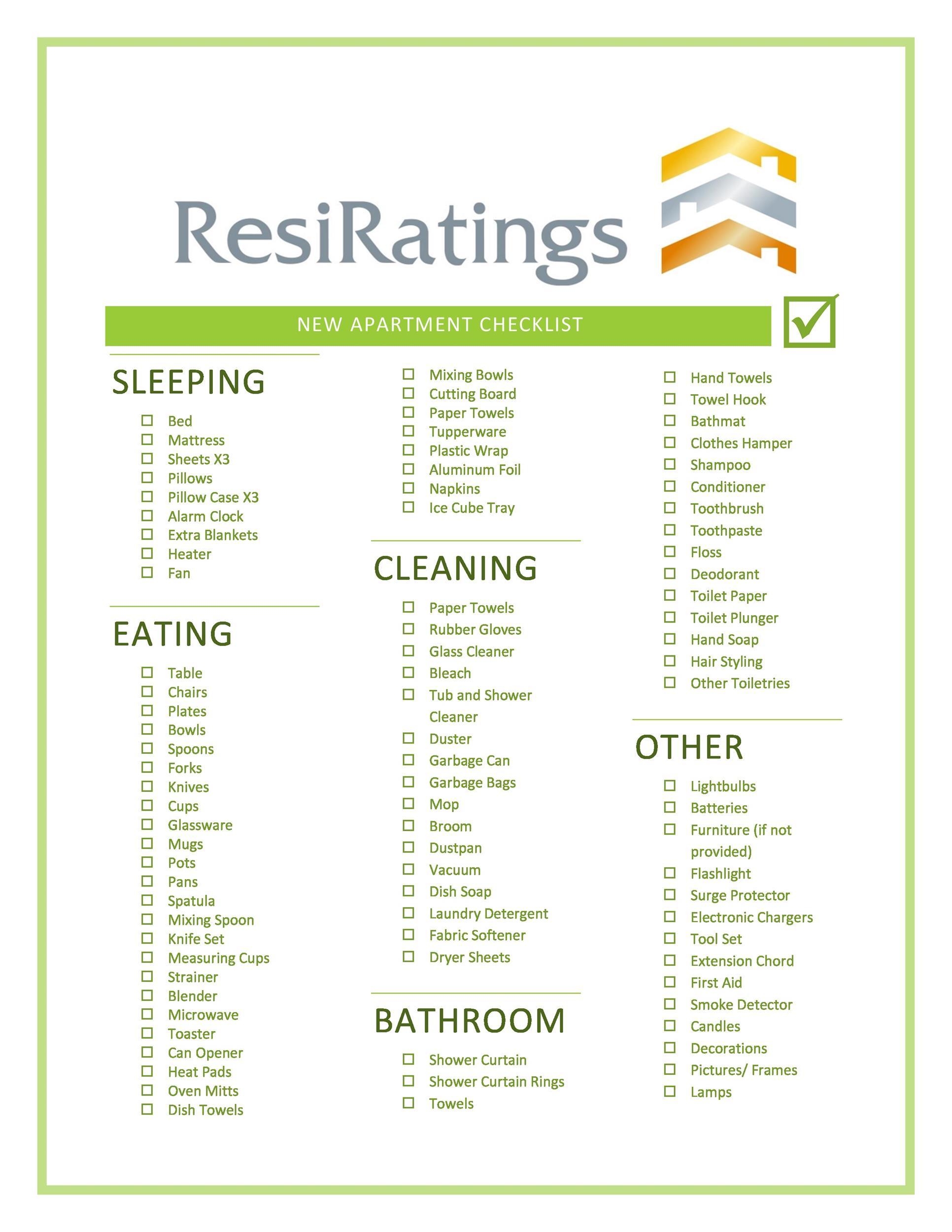 Free apartment checklist 18