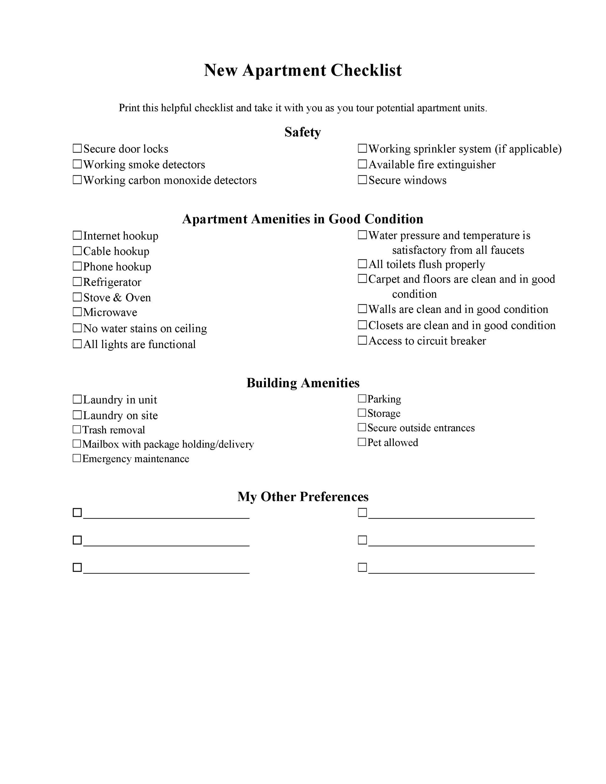 Free apartment checklist 19