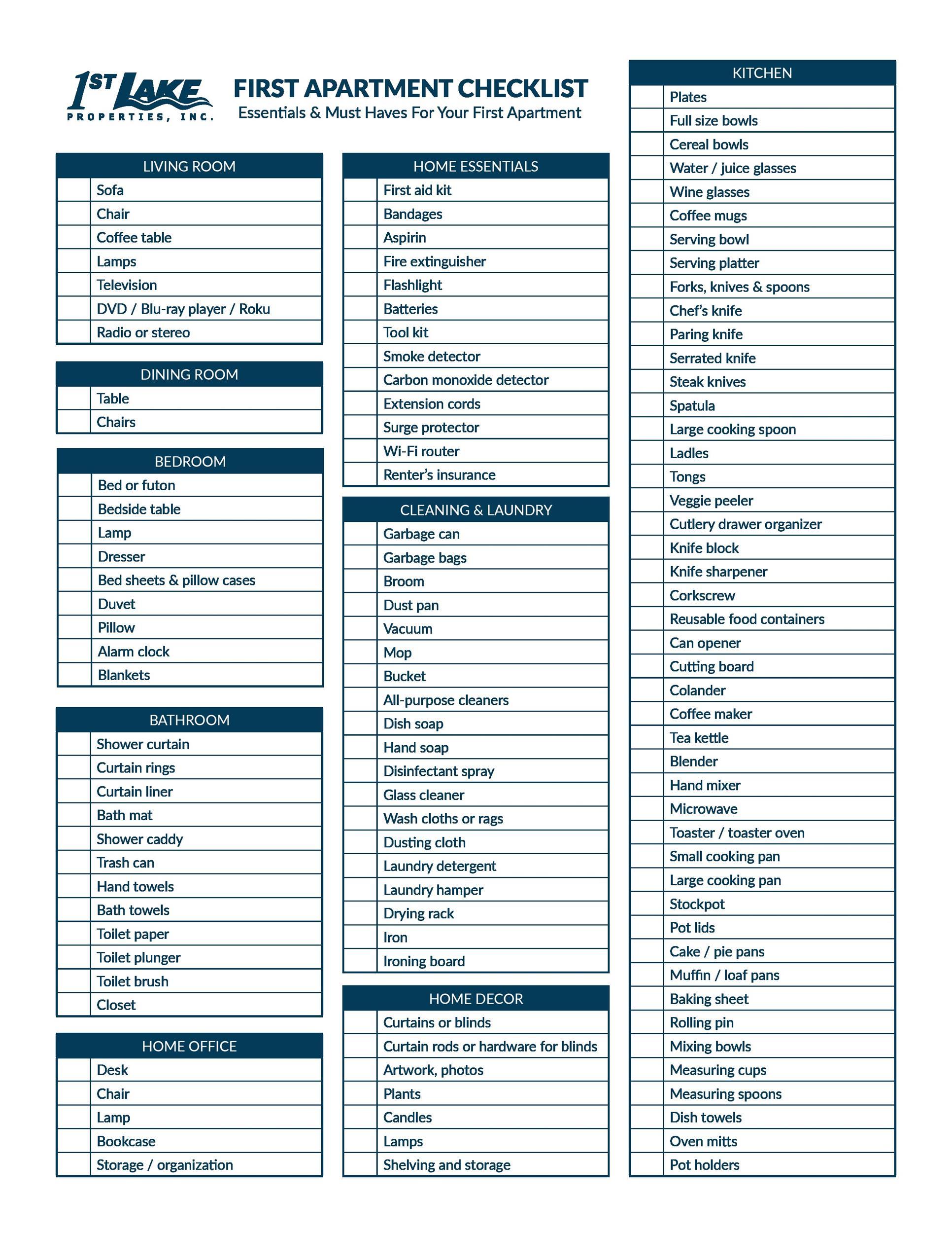 Free apartment checklist 34