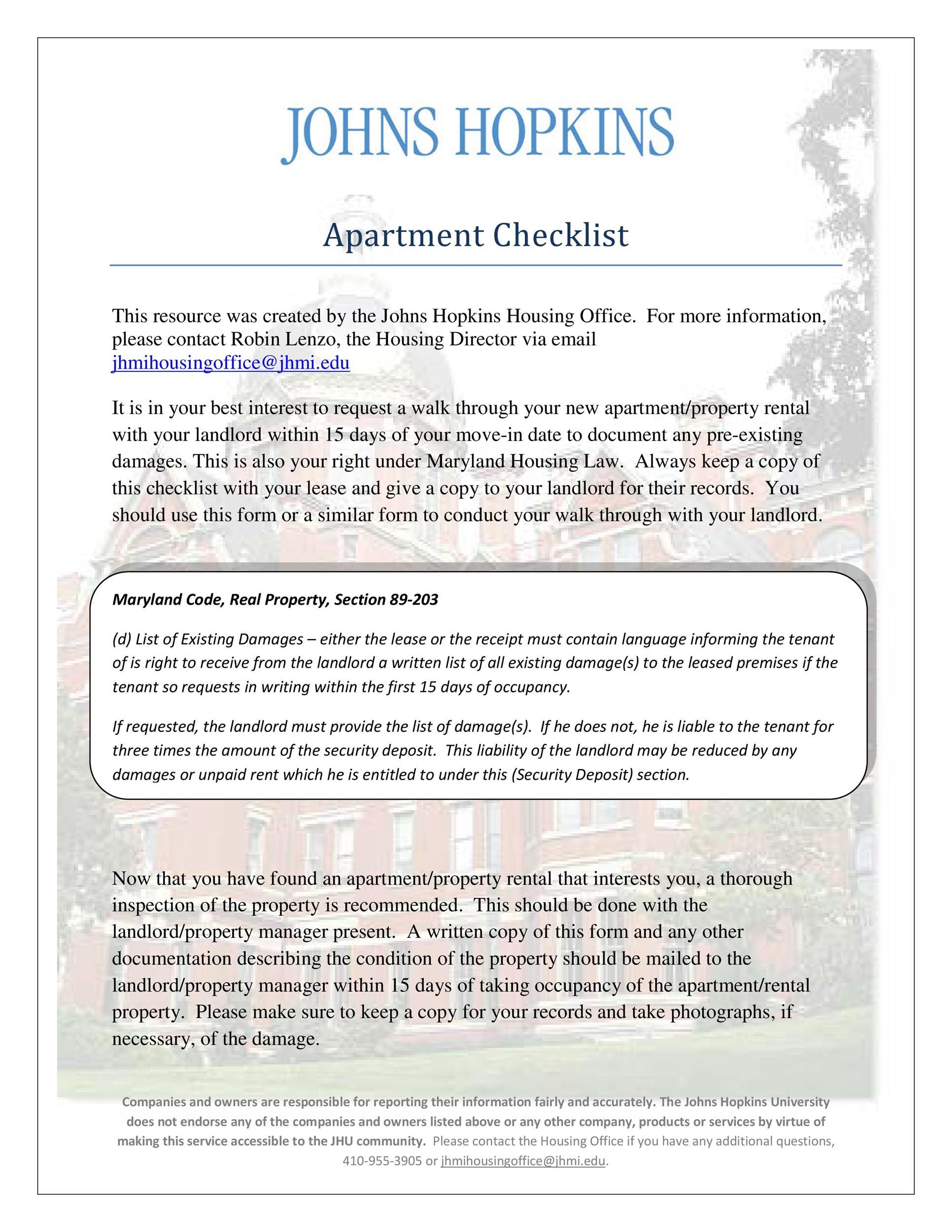 Free apartment checklist 40