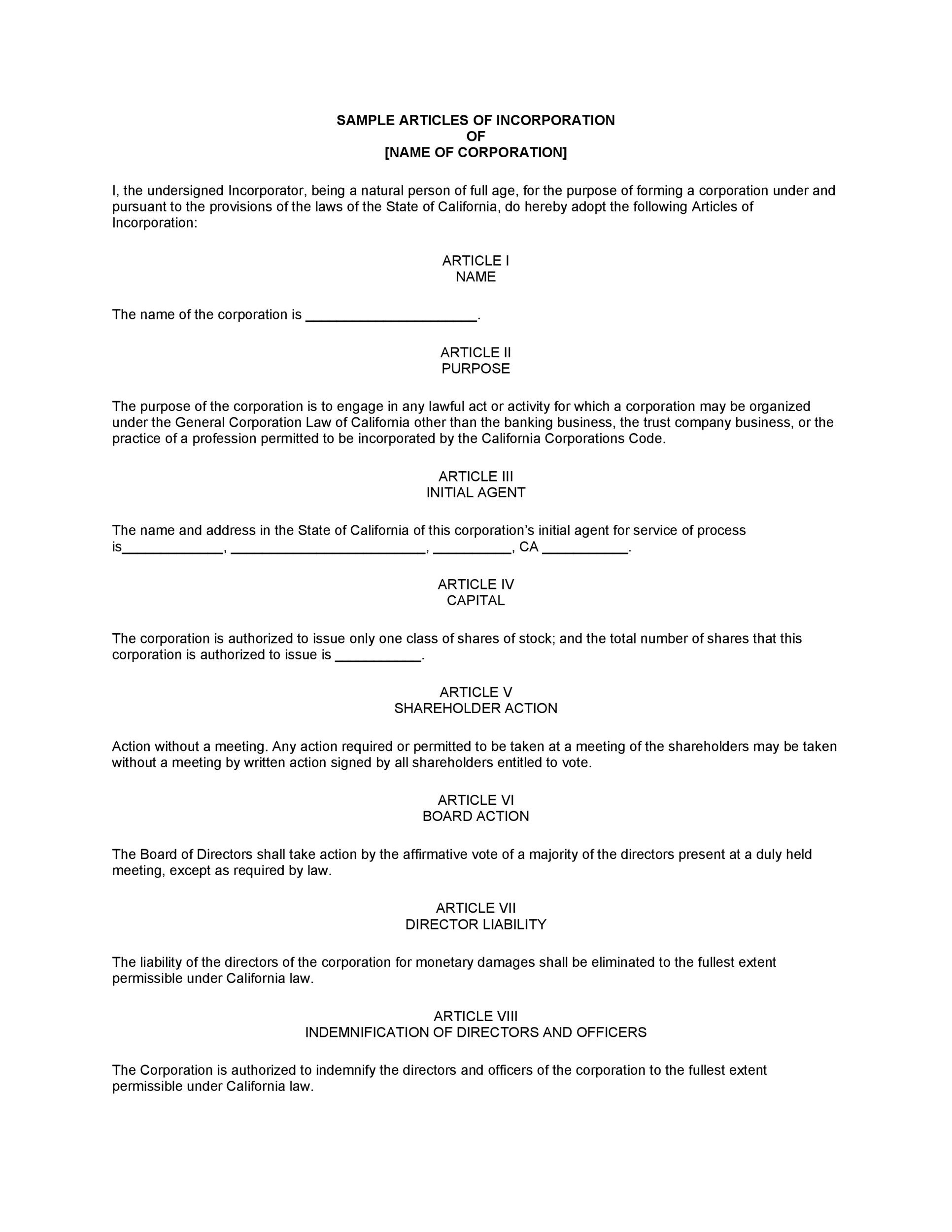 Free articles of incorporation template 01