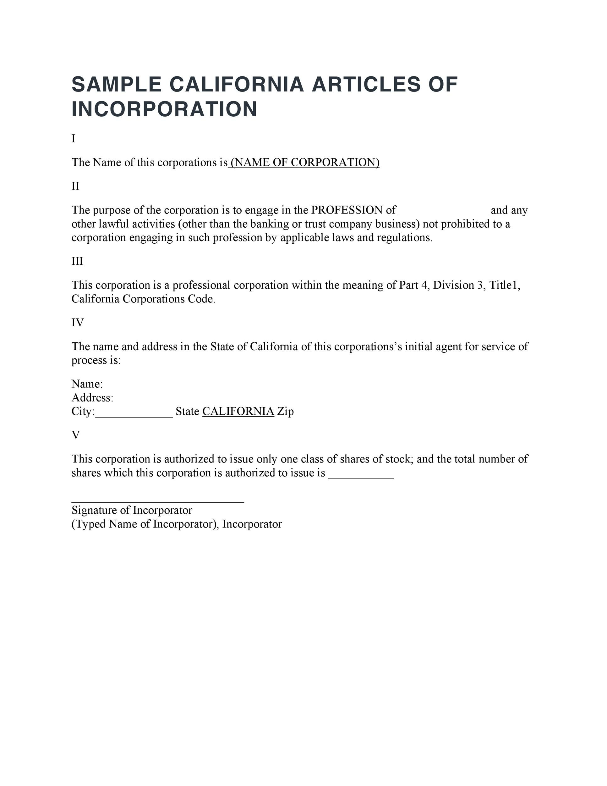 Free articles of incorporation template 03
