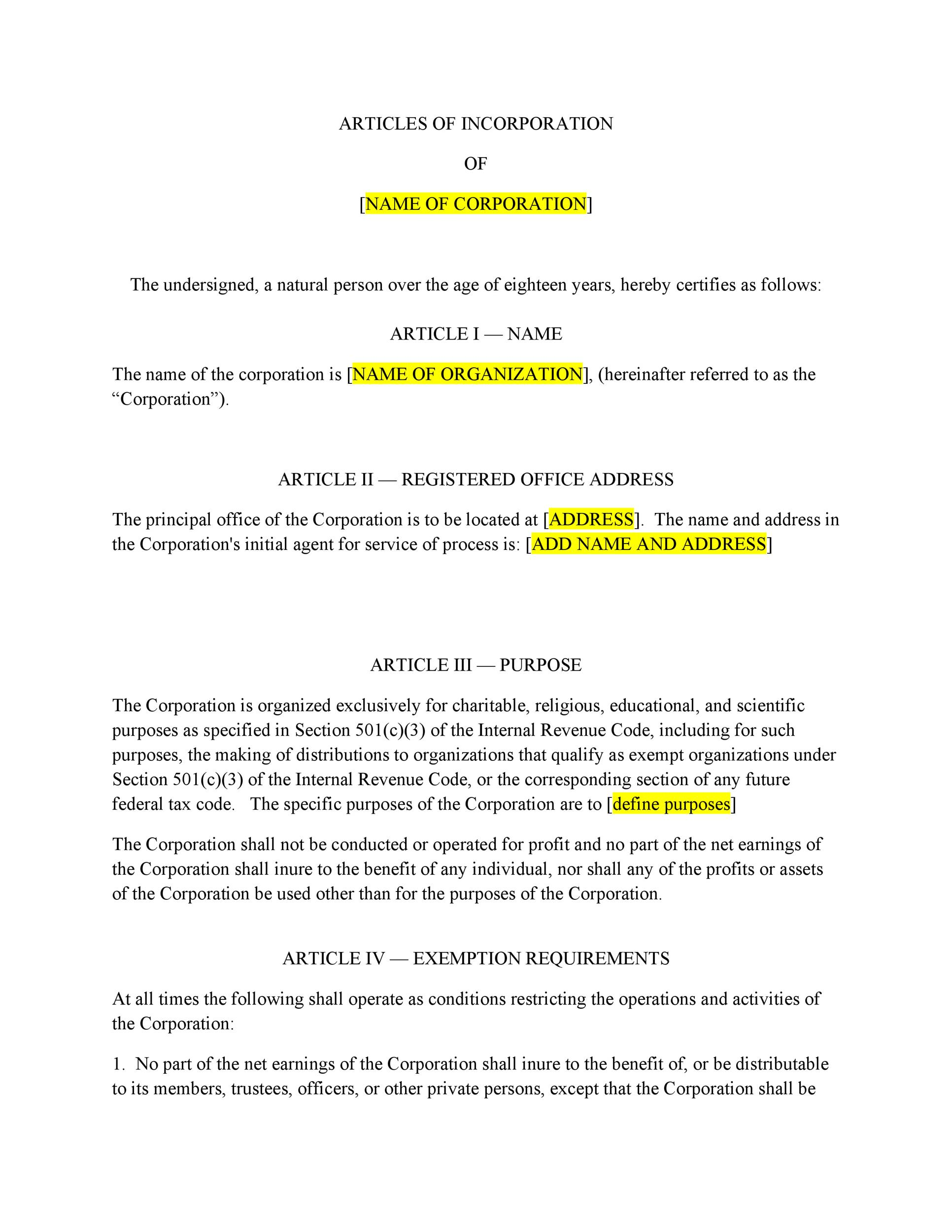 Free articles of incorporation template 04
