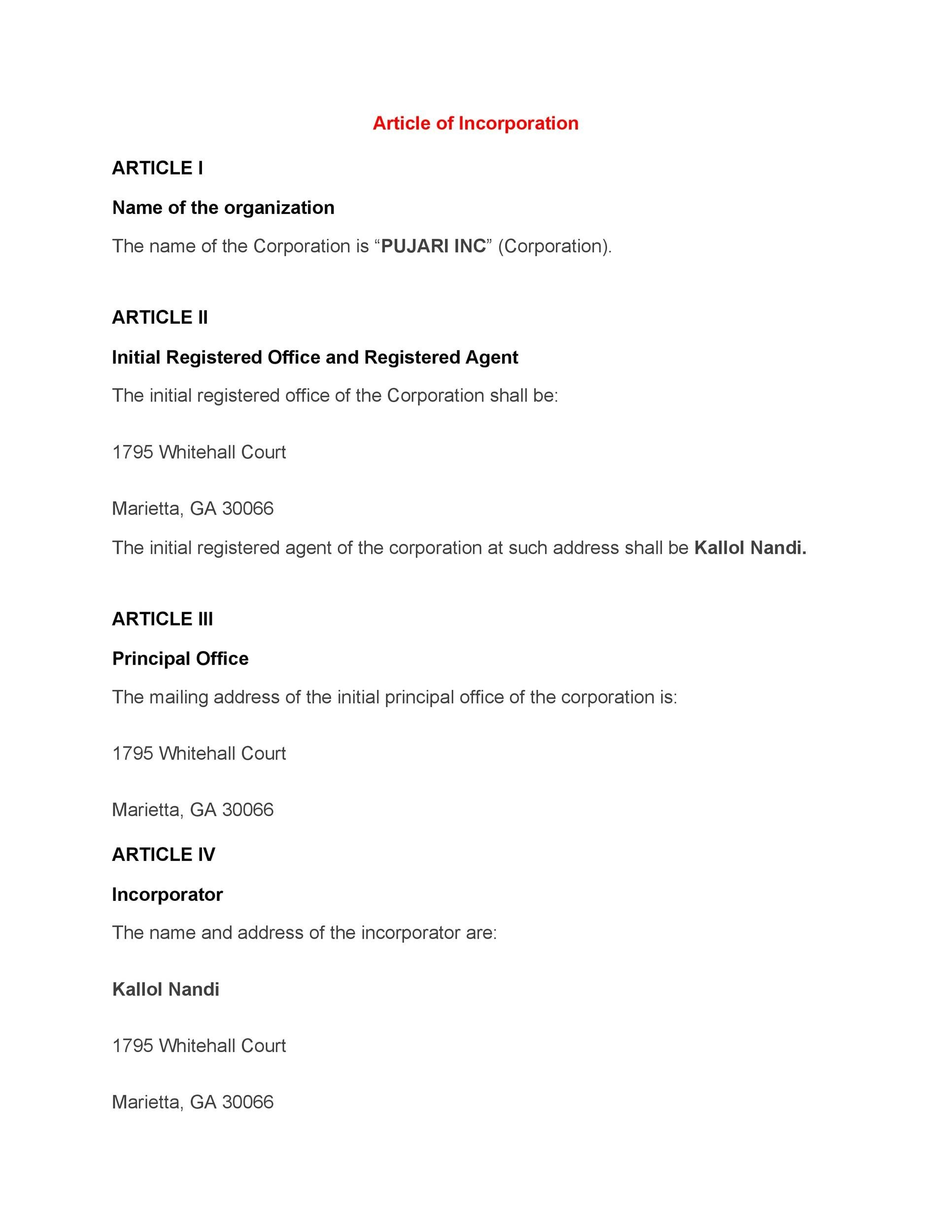 Free articles of incorporation template 14