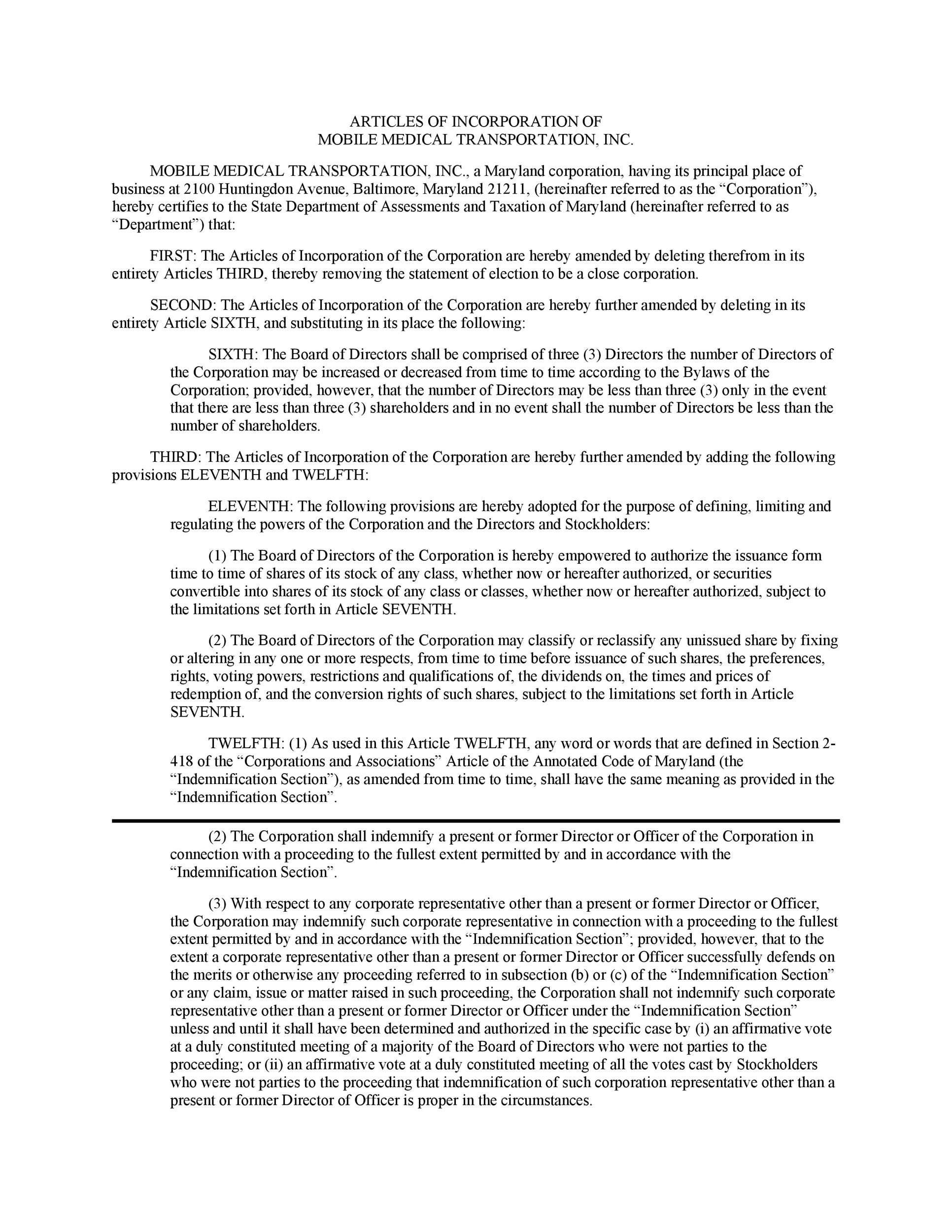 Free articles of incorporation template 15