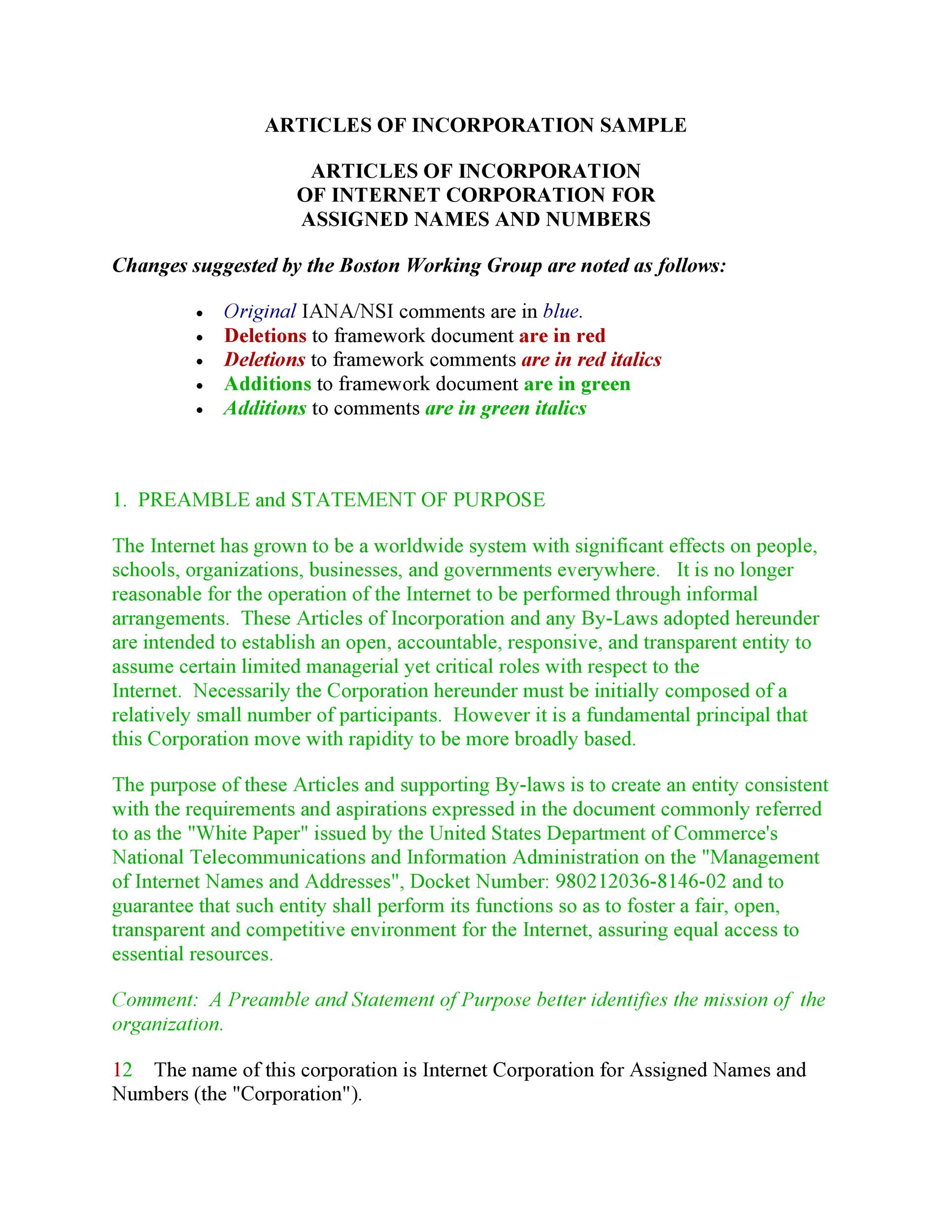 Free articles of incorporation template 18