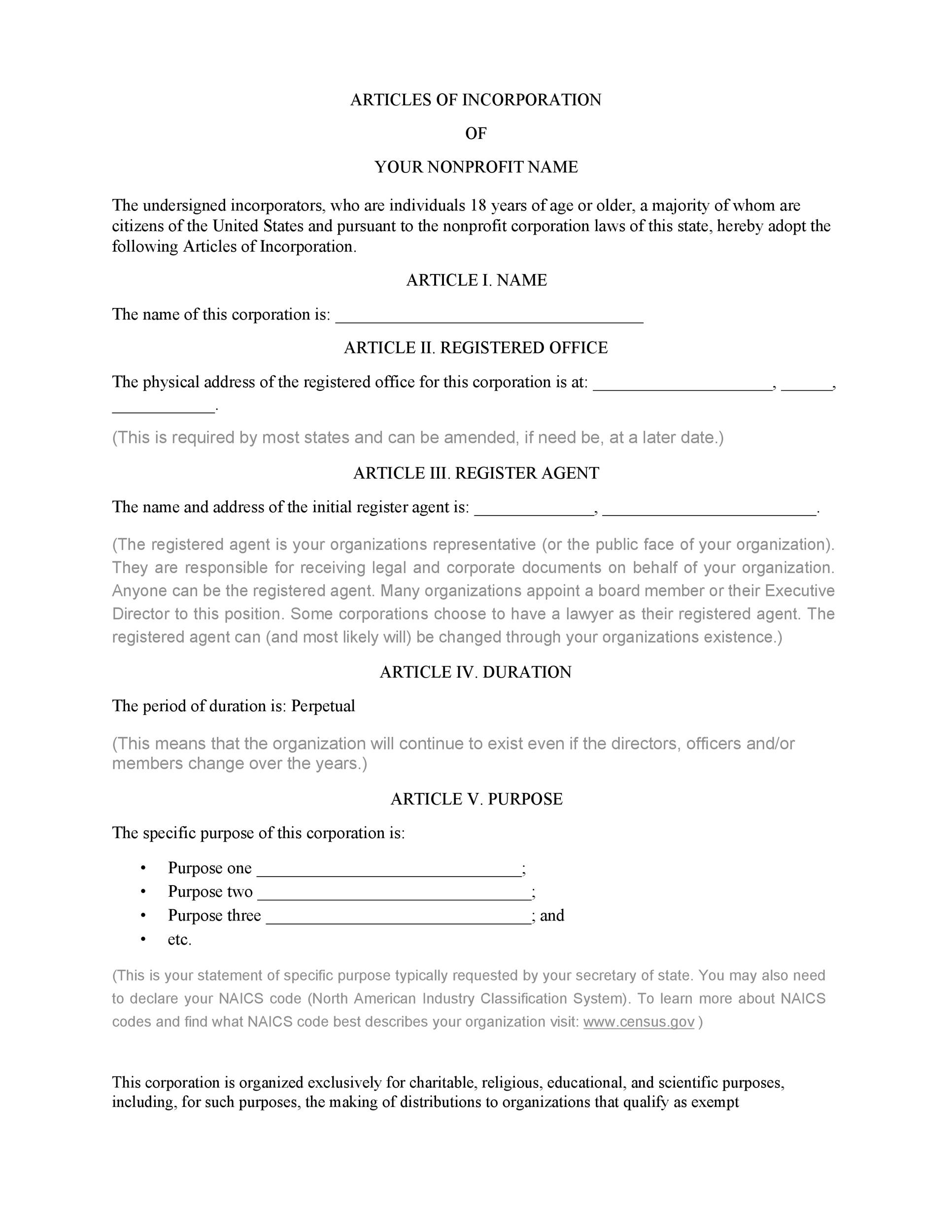 Free articles of incorporation template 20
