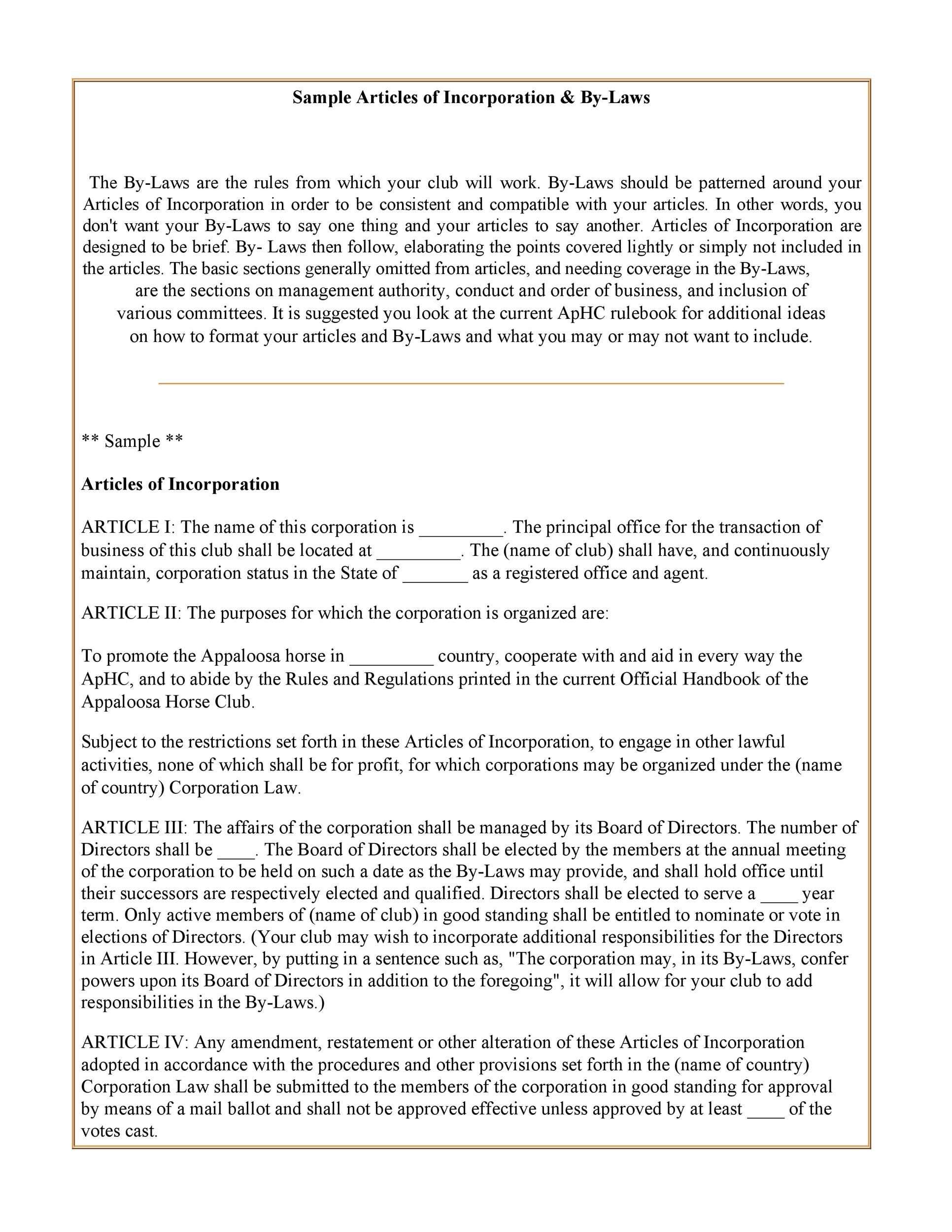 Free articles of incorporation template 21