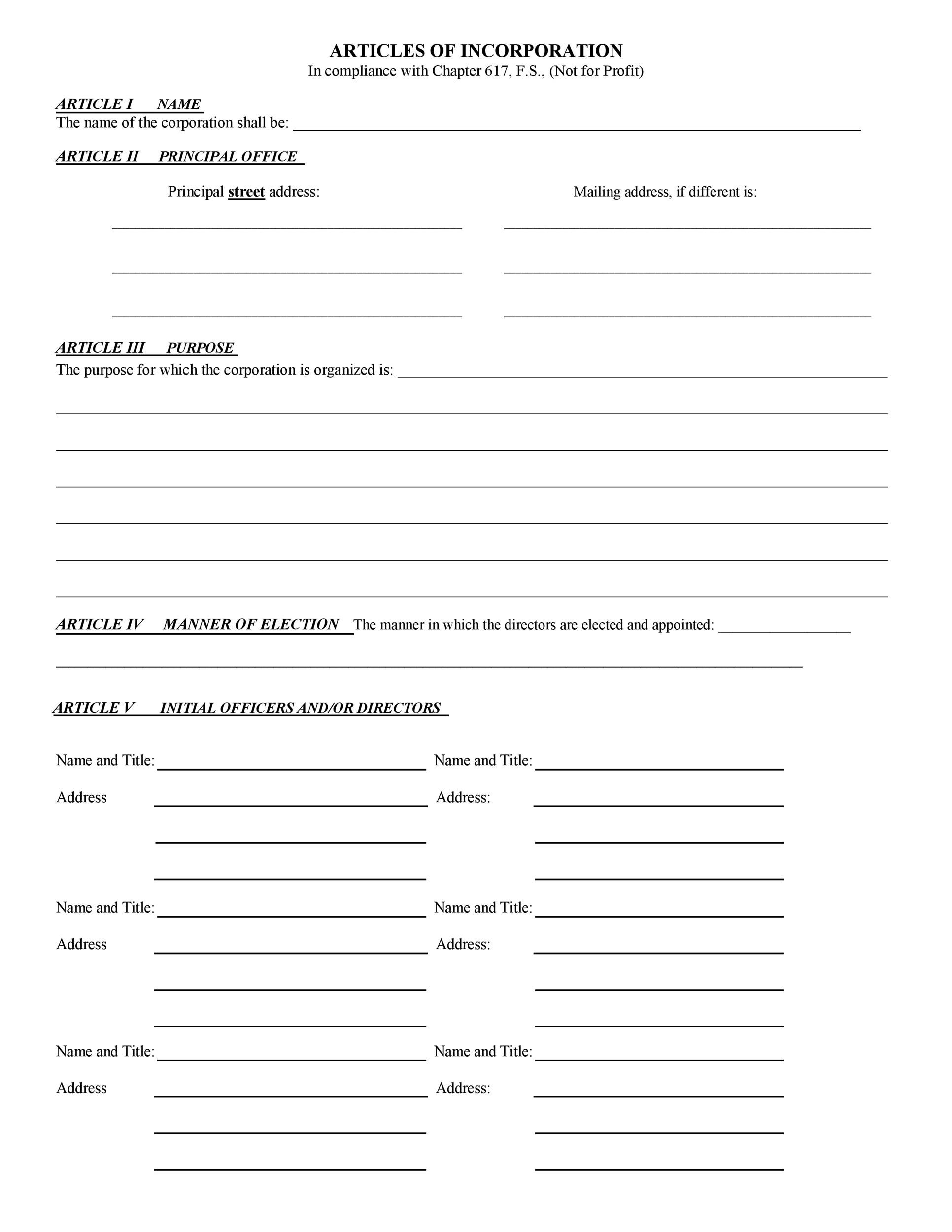 Free articles of incorporation template 22