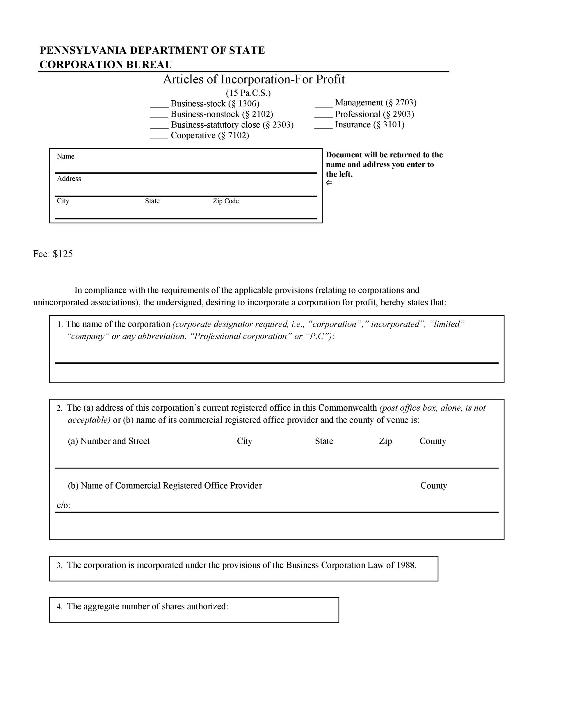 Free articles of incorporation template 27