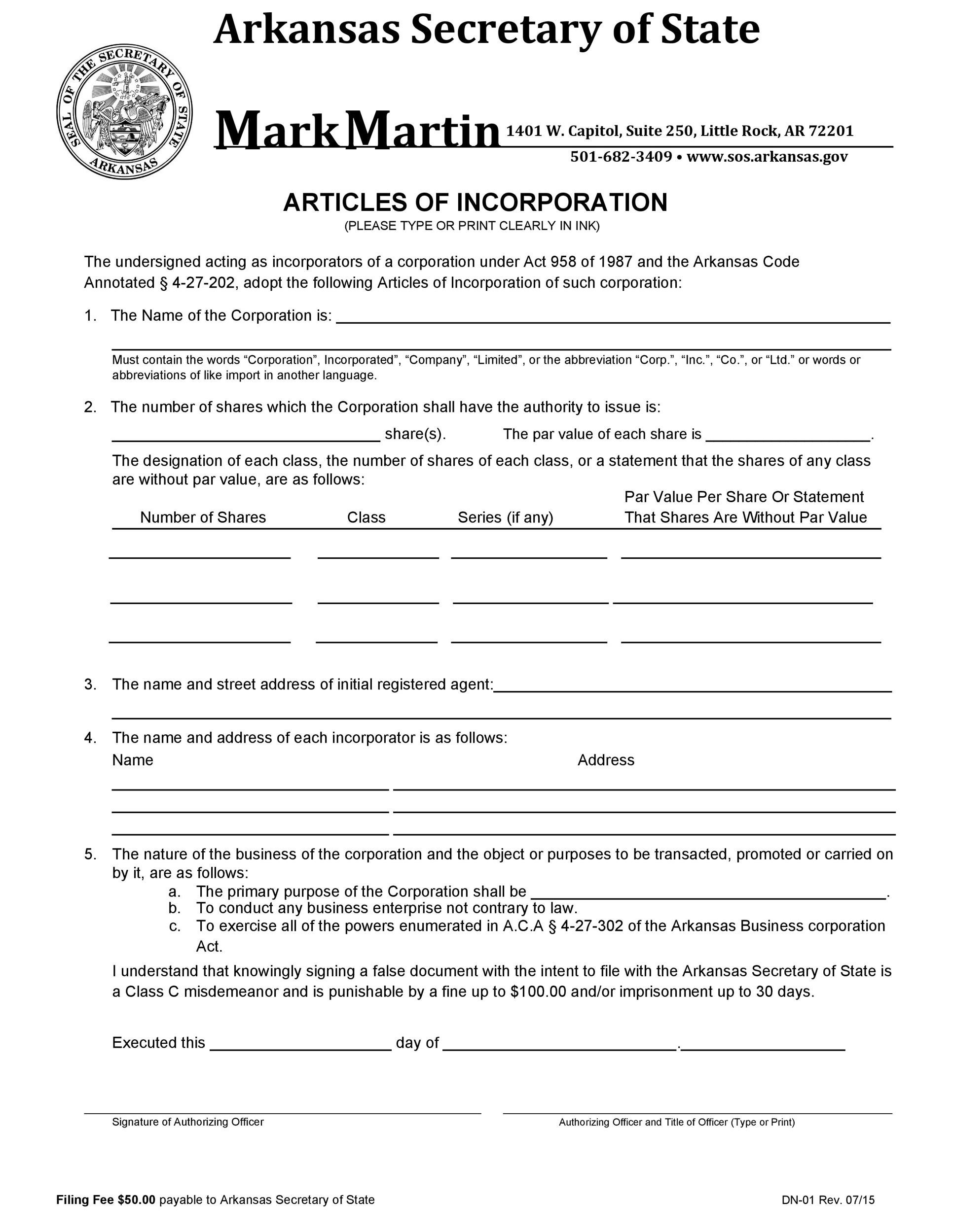 Free articles of incorporation template 32