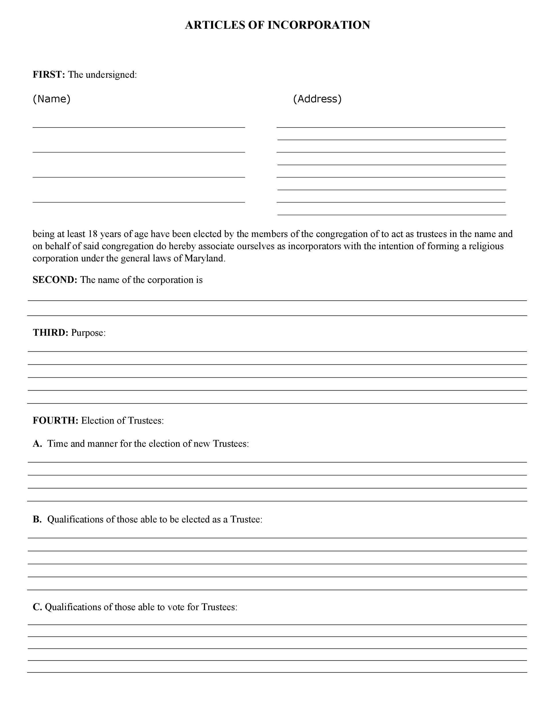 Free articles of incorporation template 33