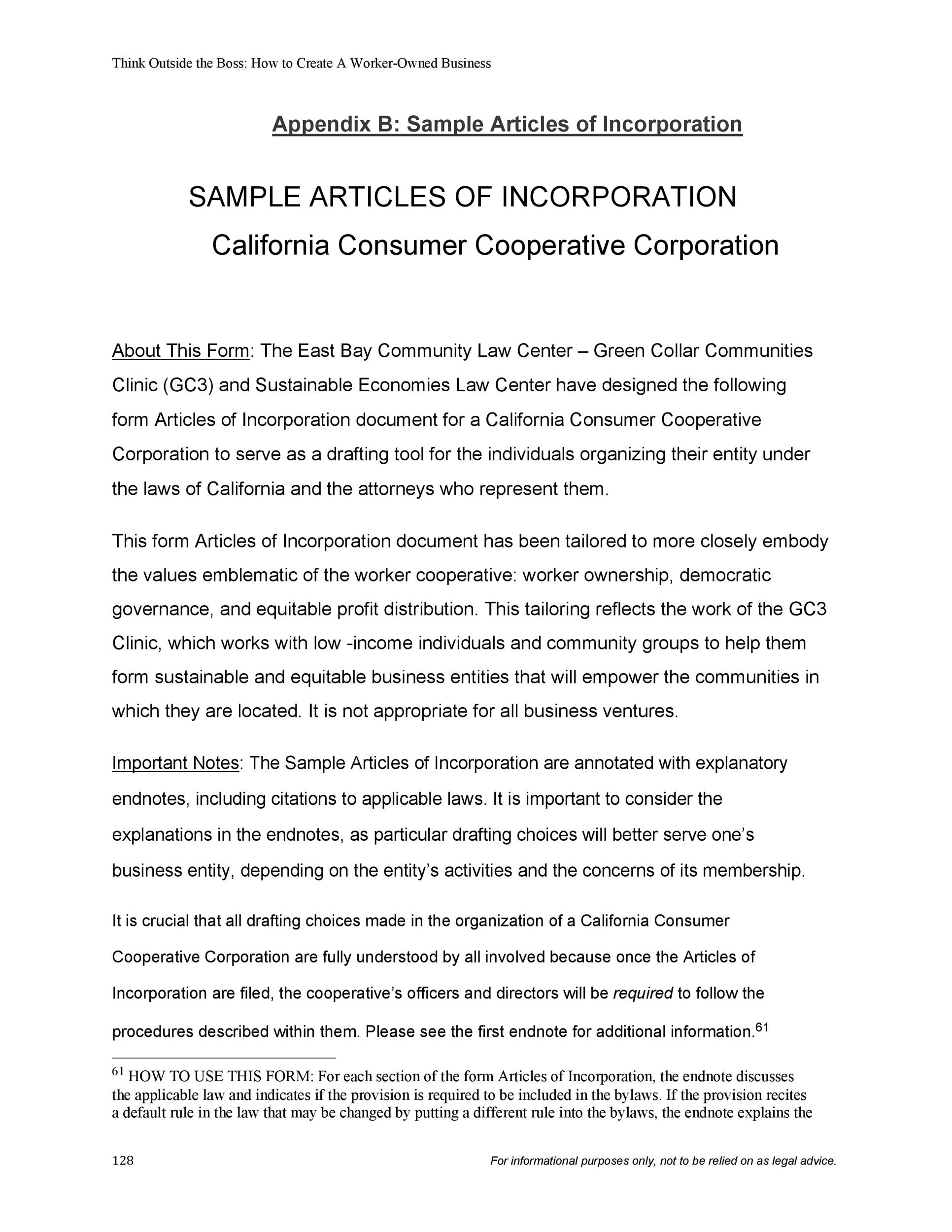 Free articles of incorporation template 34