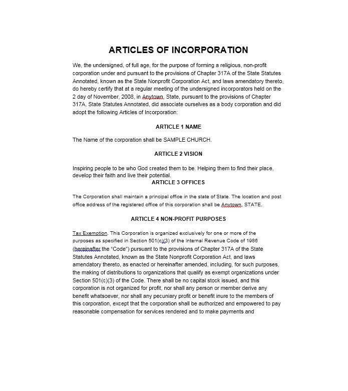 Free articles of incorporation template 36
