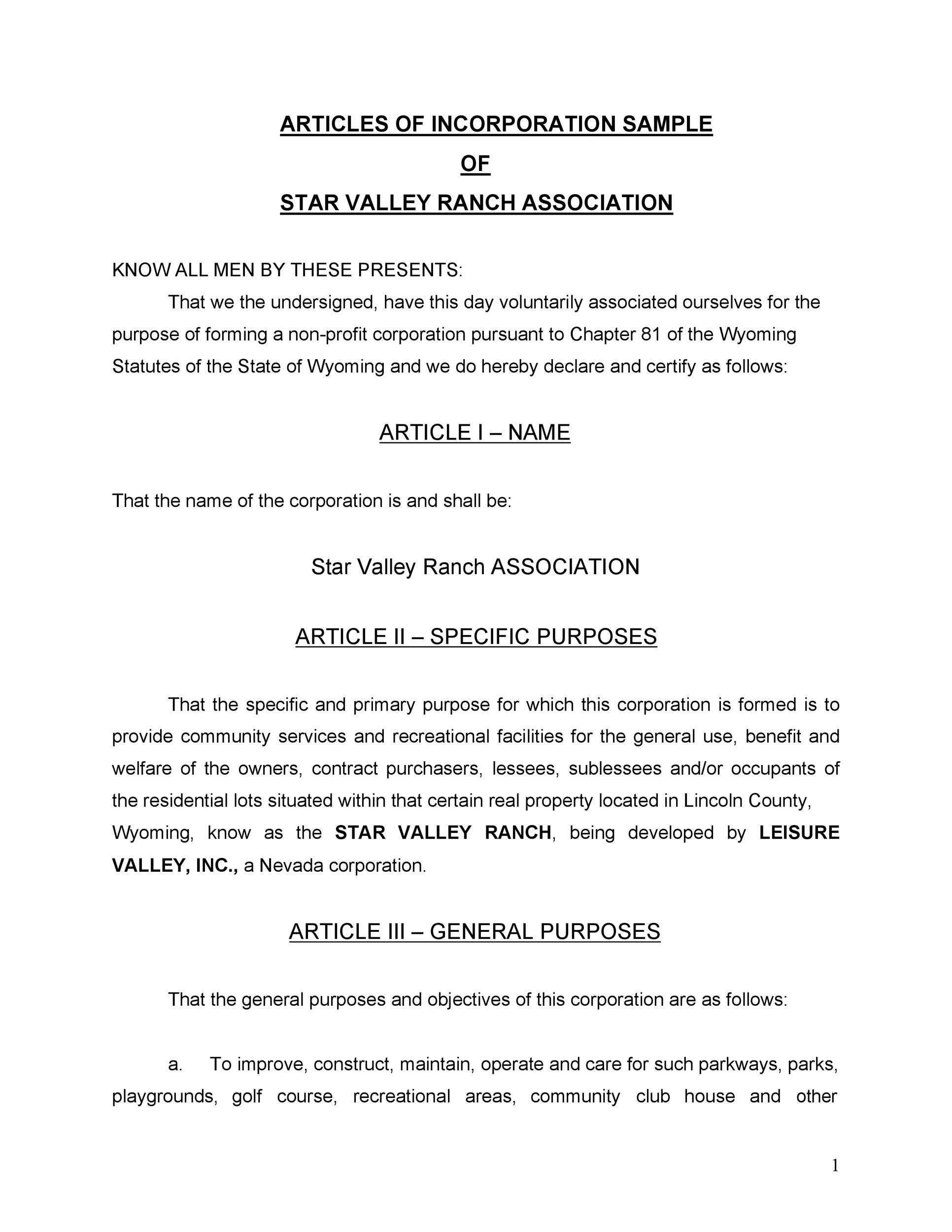 Free articles of incorporation template 37