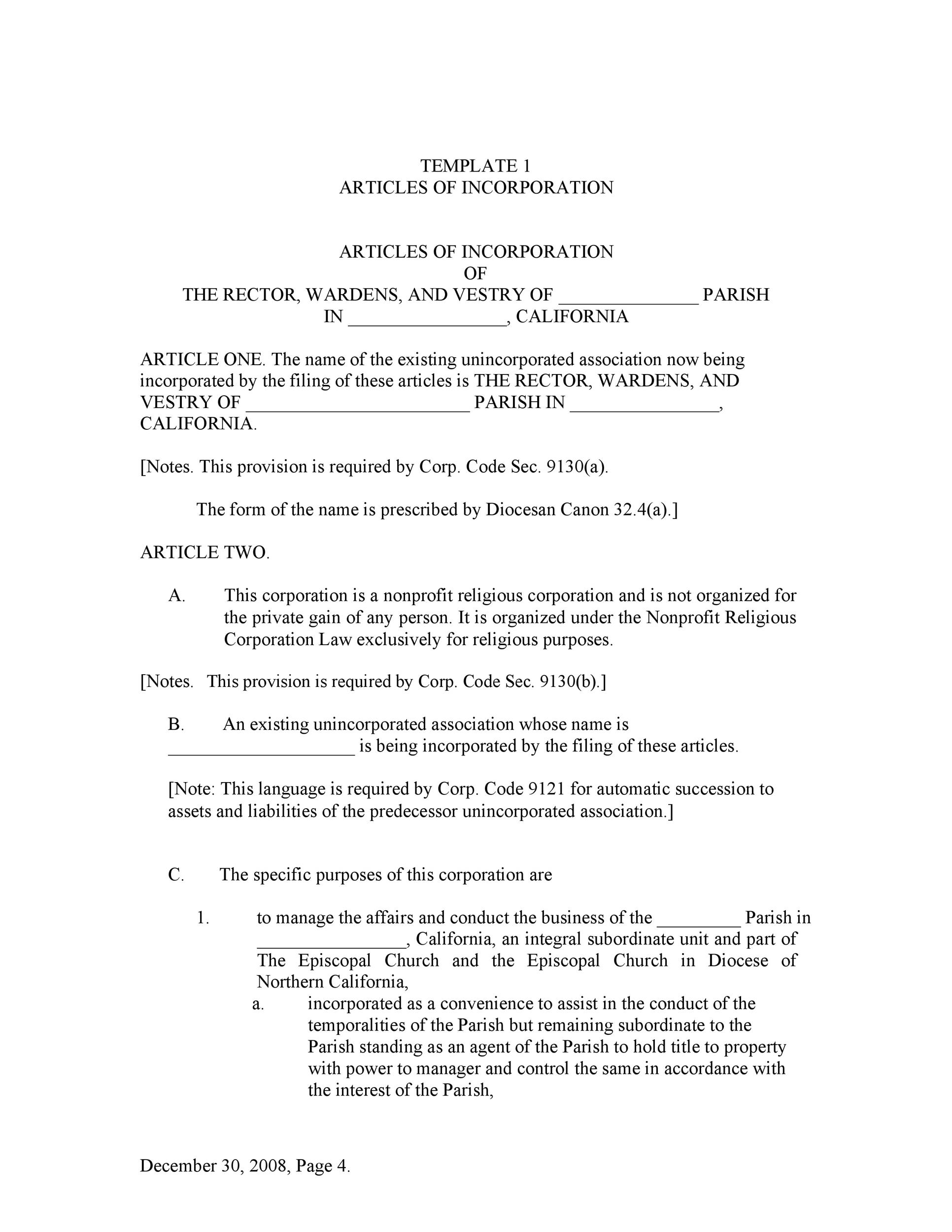 articles of incorporation template articles of incorporation 47 templates for any state ᐅ 20506 | articles of incorporation template 39