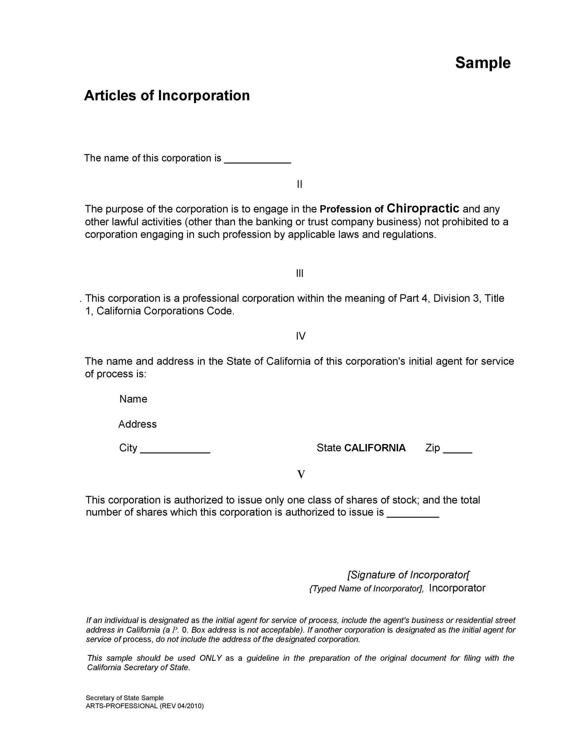 Articles of incorporation florida template