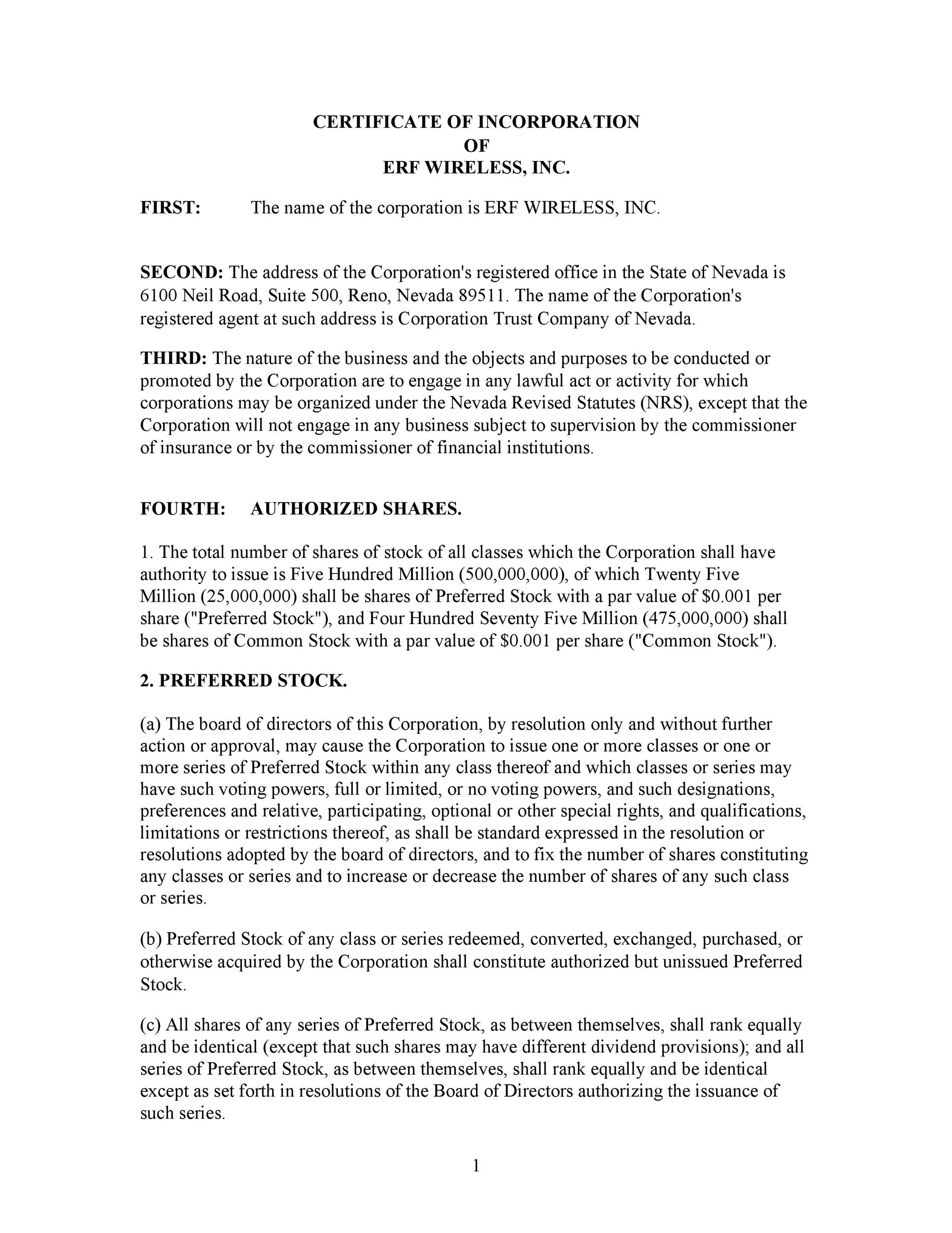 Free articles of incorporation template 46