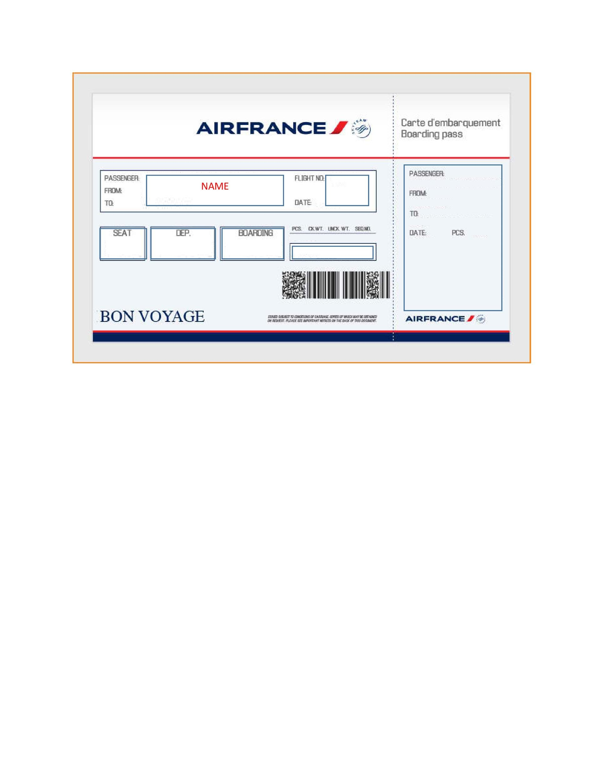 pretend plane ticket template