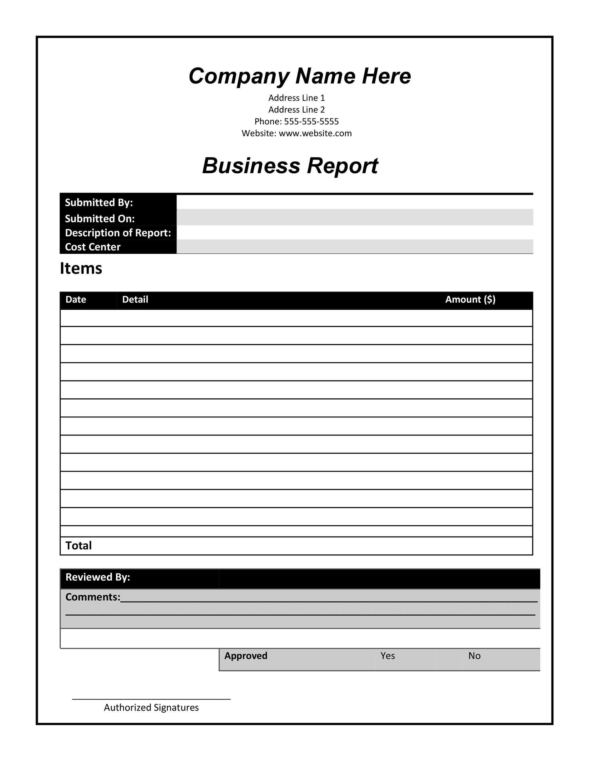 Printable Business Report Template 01  Business Reporting Templates