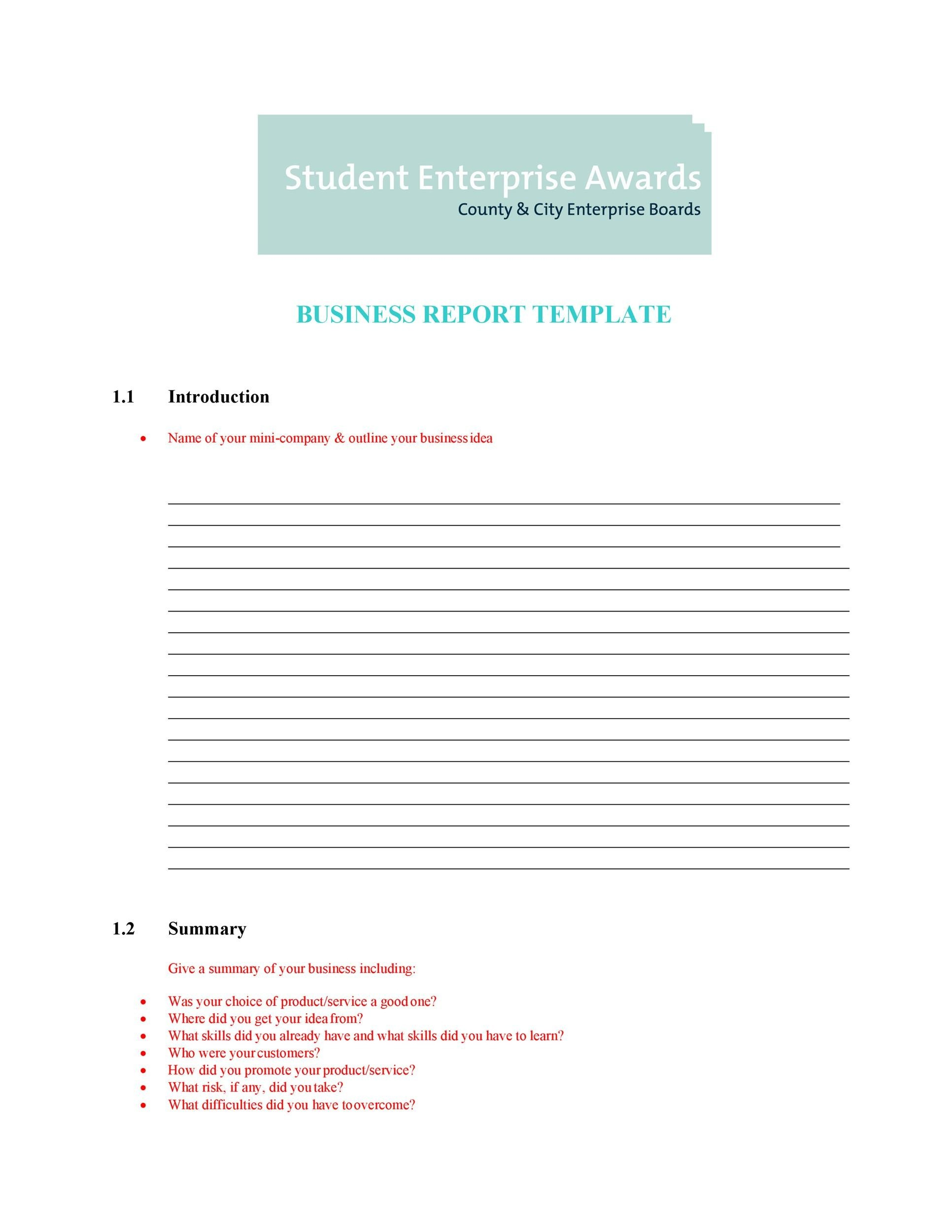 30 business report templates format examples template lab printable business report template 02 flashek Choice Image