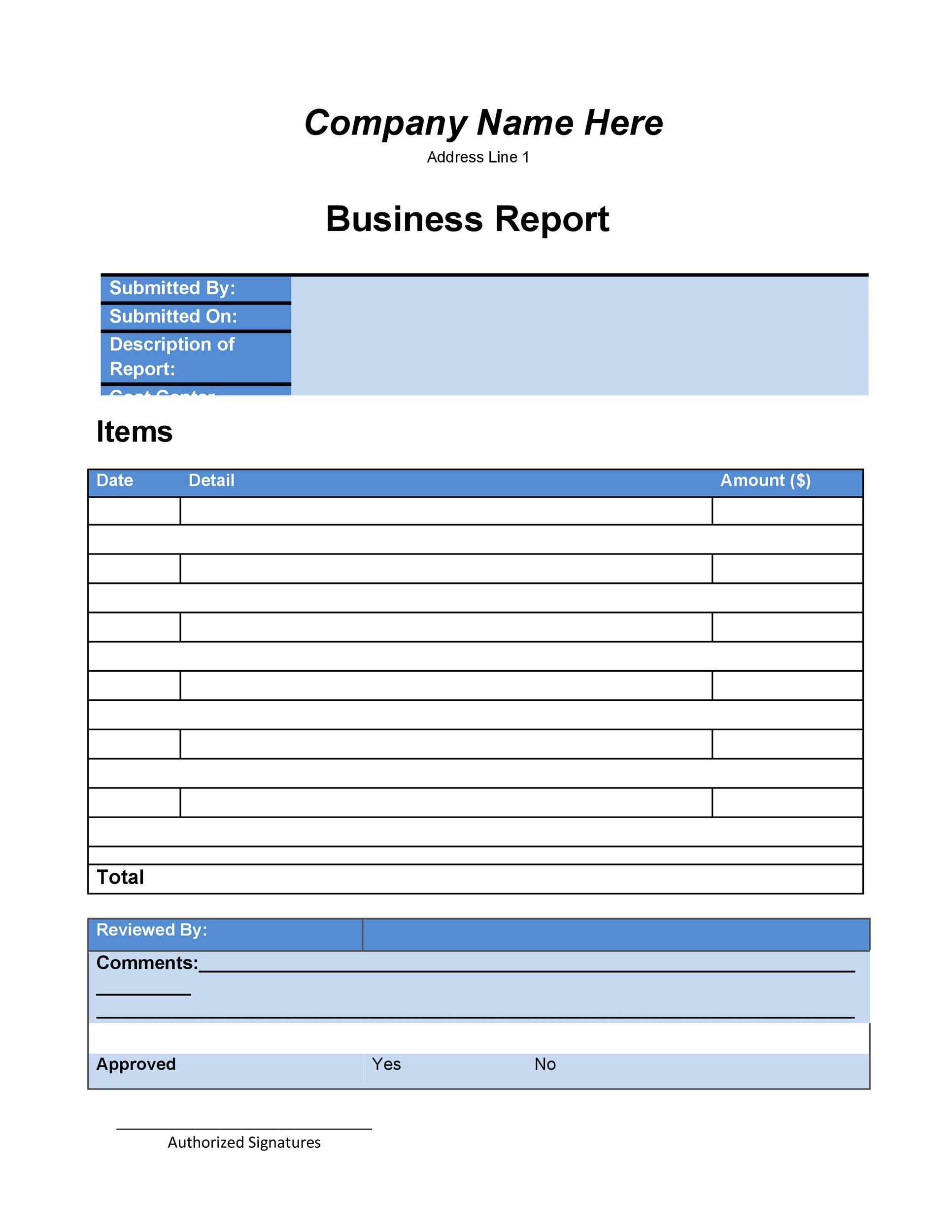 template for a report