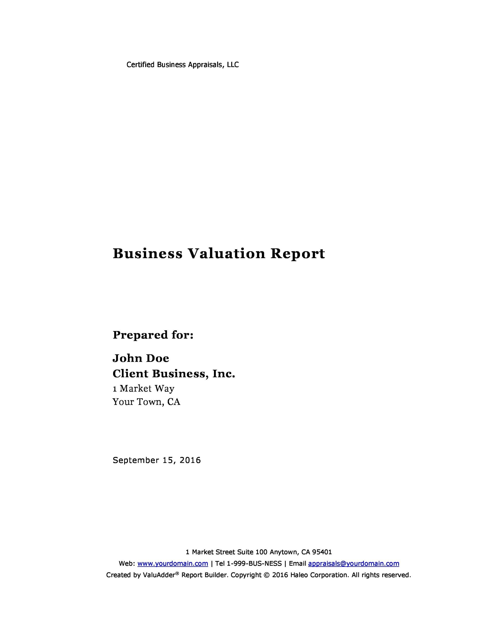Free business report template 20