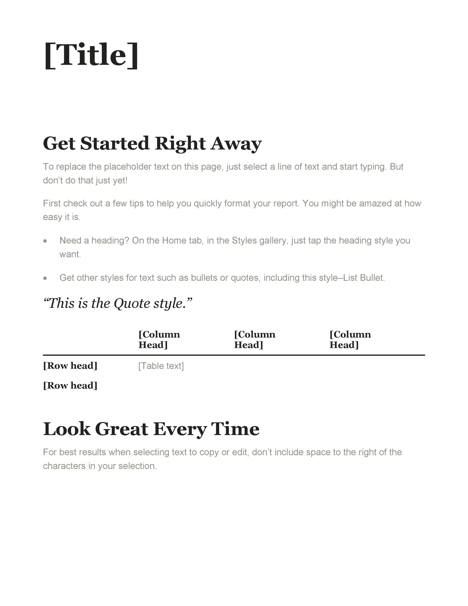 Editable Quite short Company Document Template