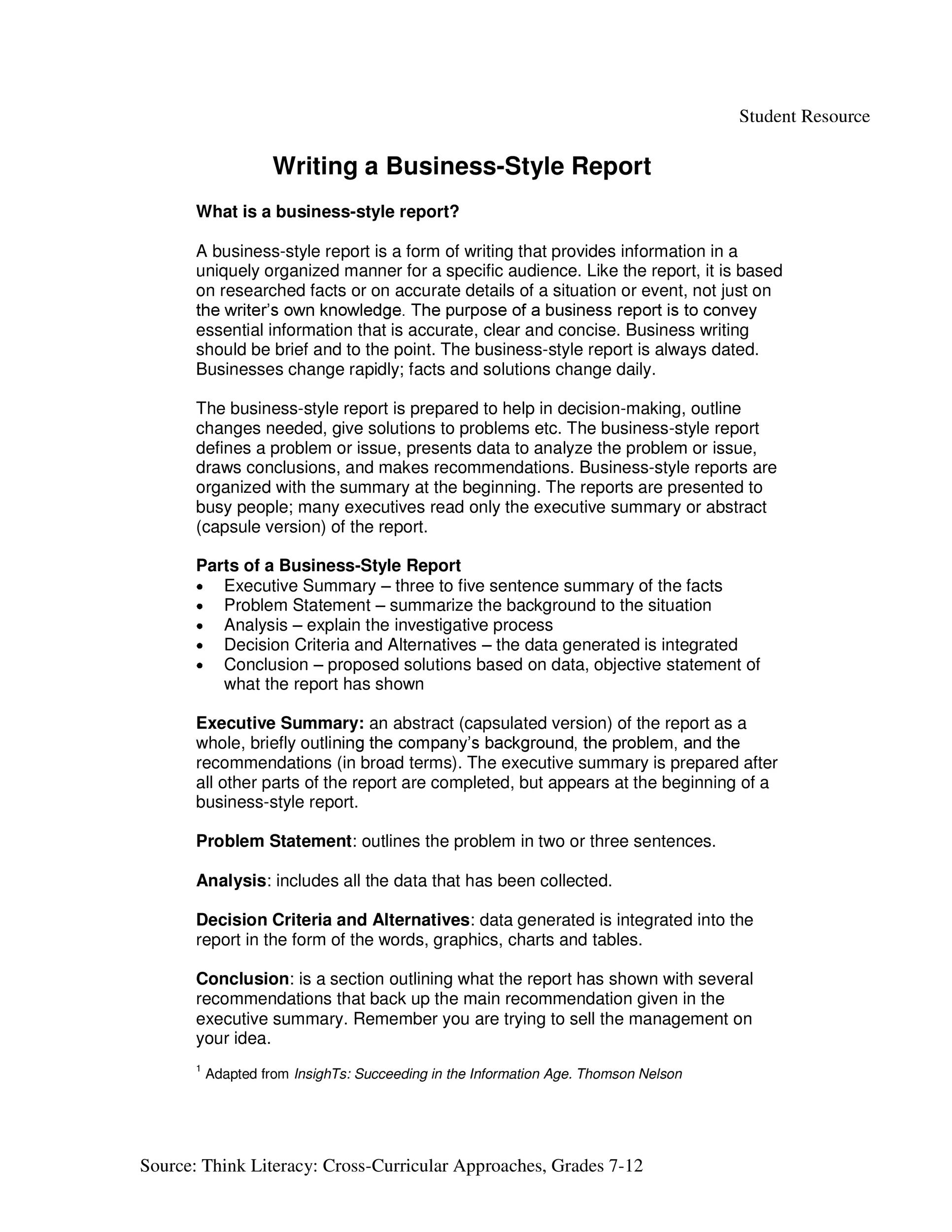 Free business report template 39