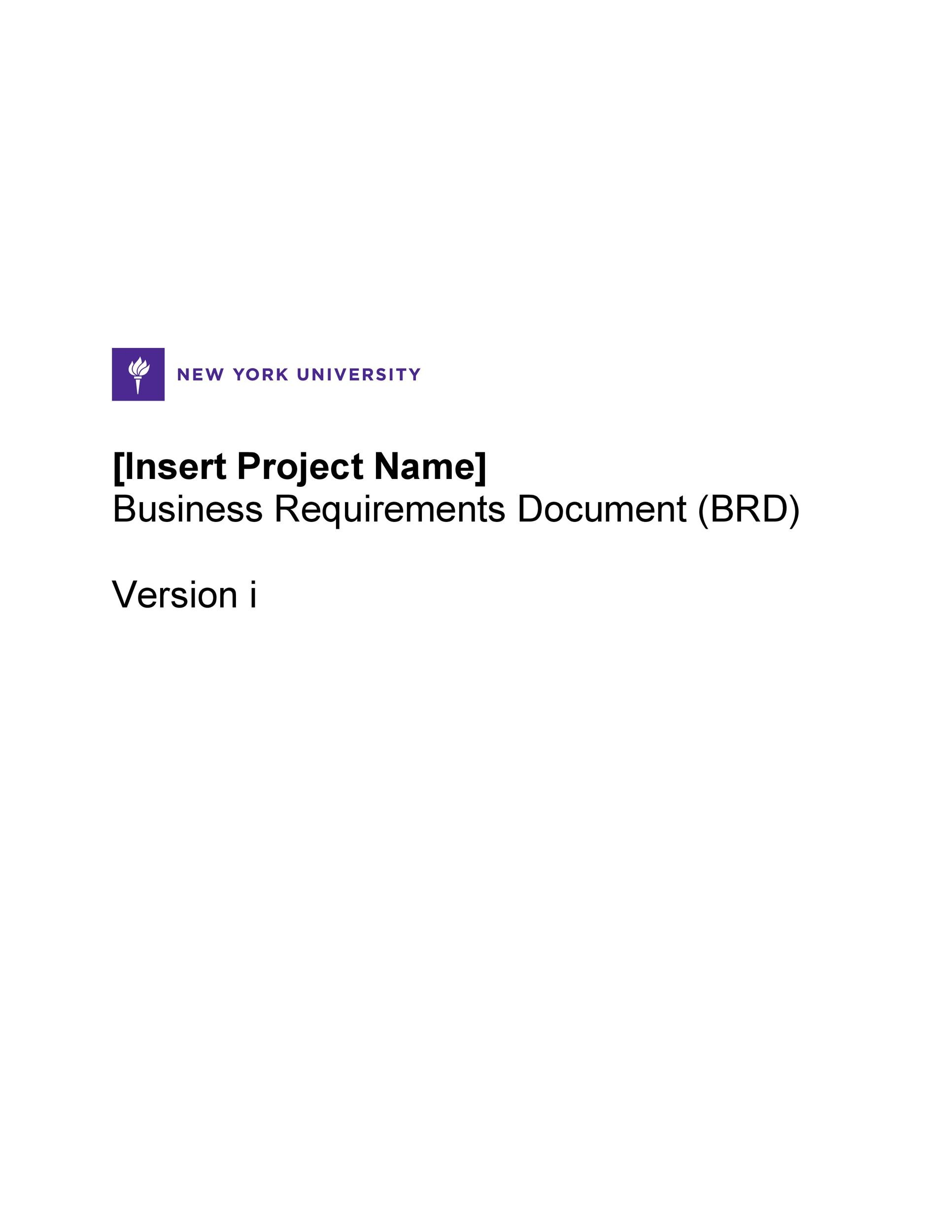 Printable Business Requirements Document Template 01