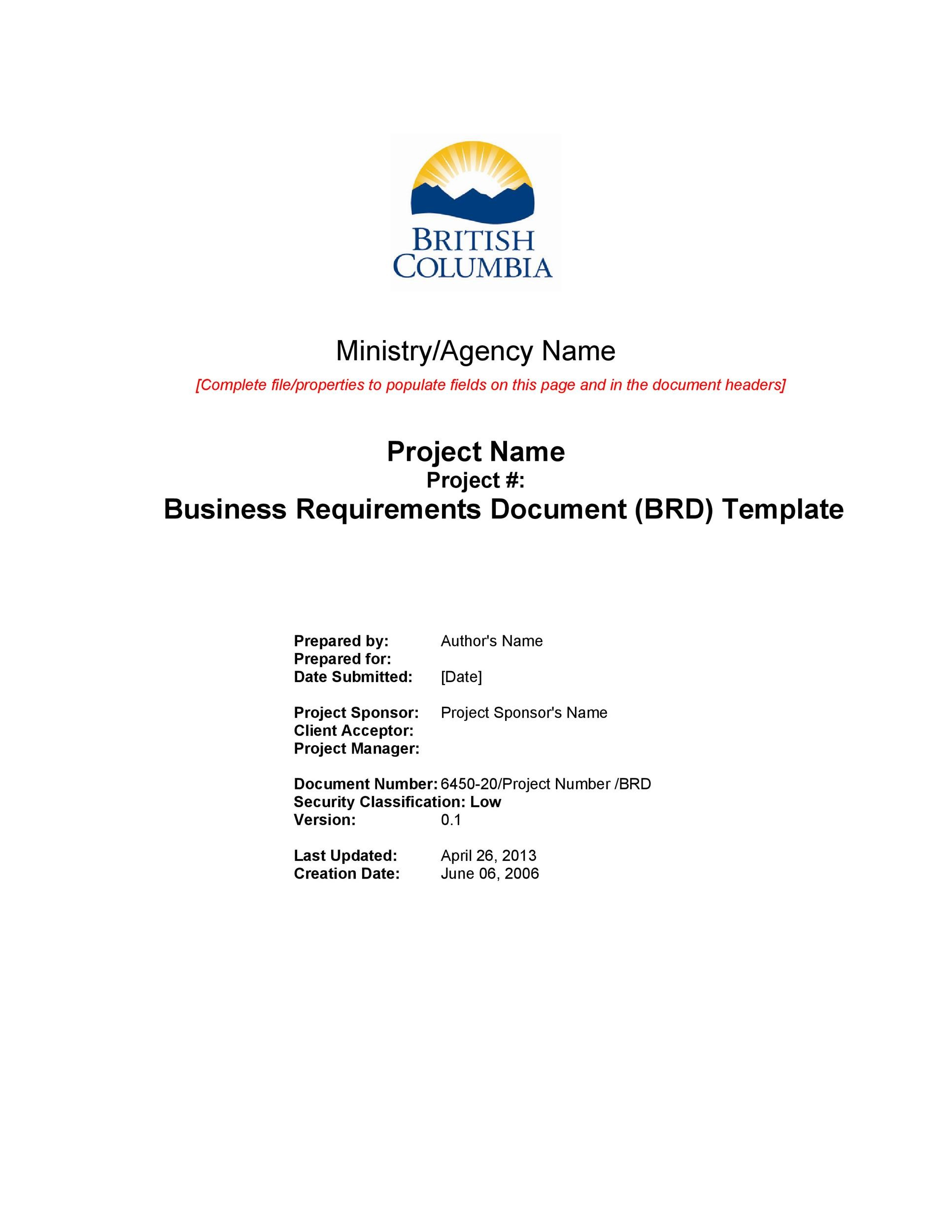 40 simple business requirements document templates template lab free business requirements document template 02 accmission