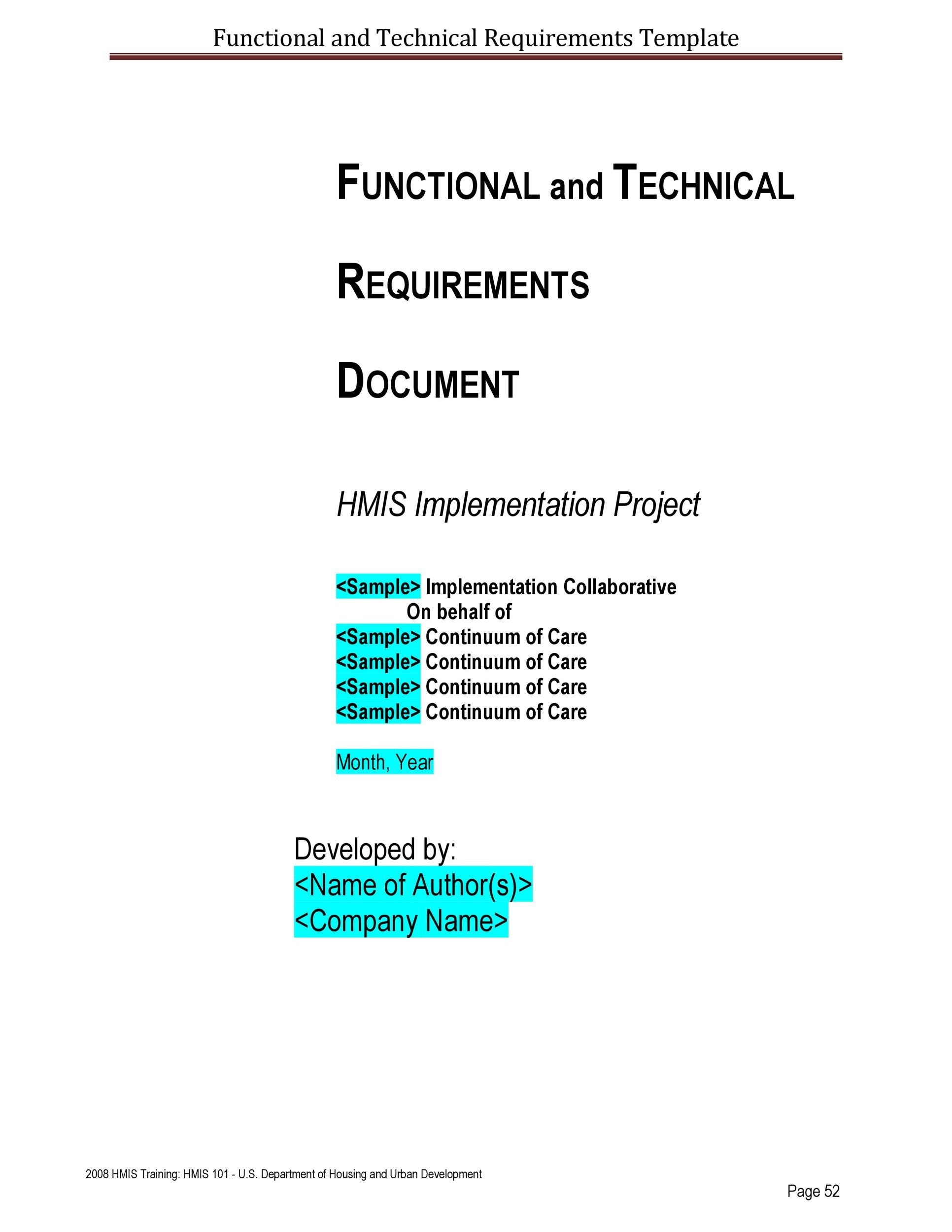 Free business requirements document template 10