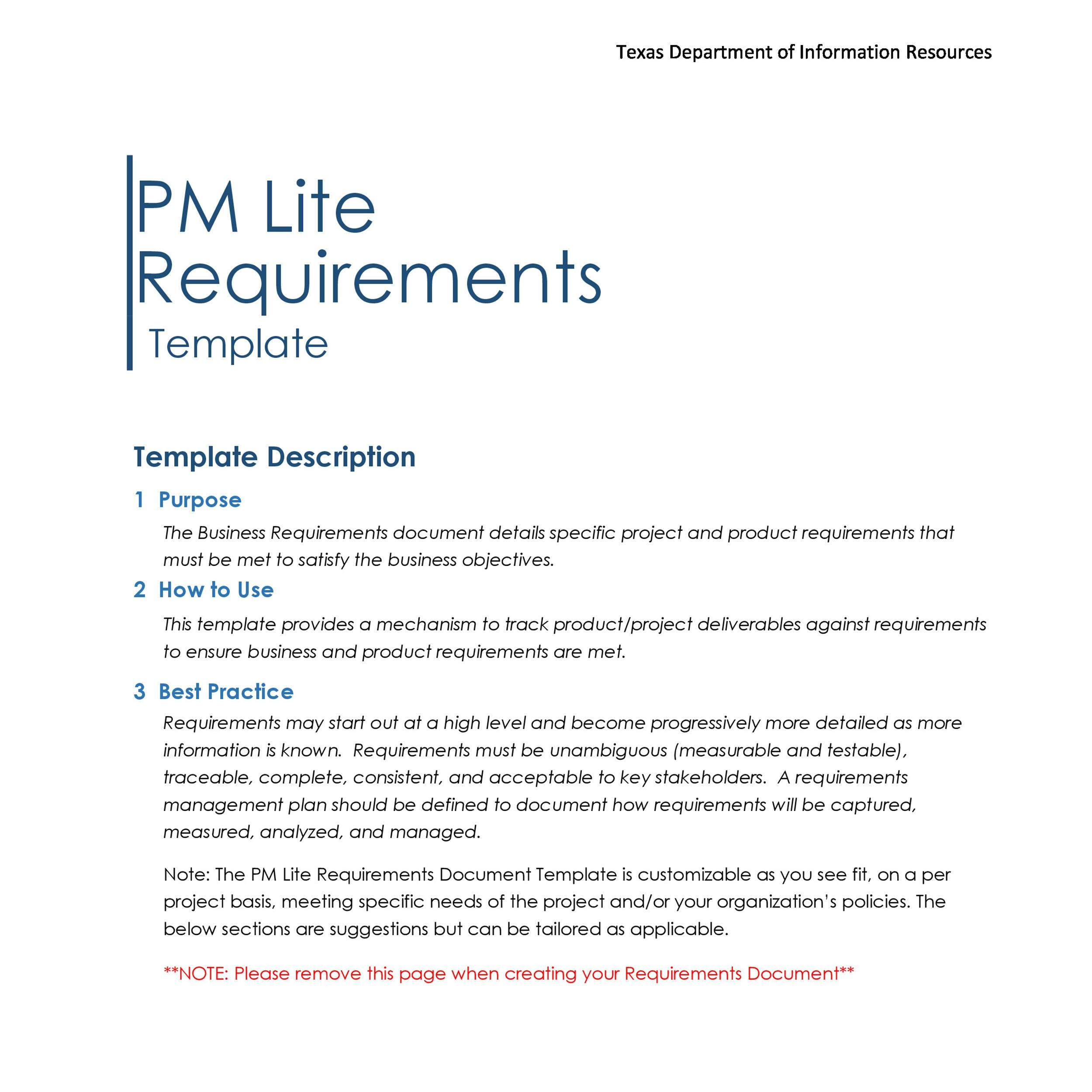 Free business requirements document template 11