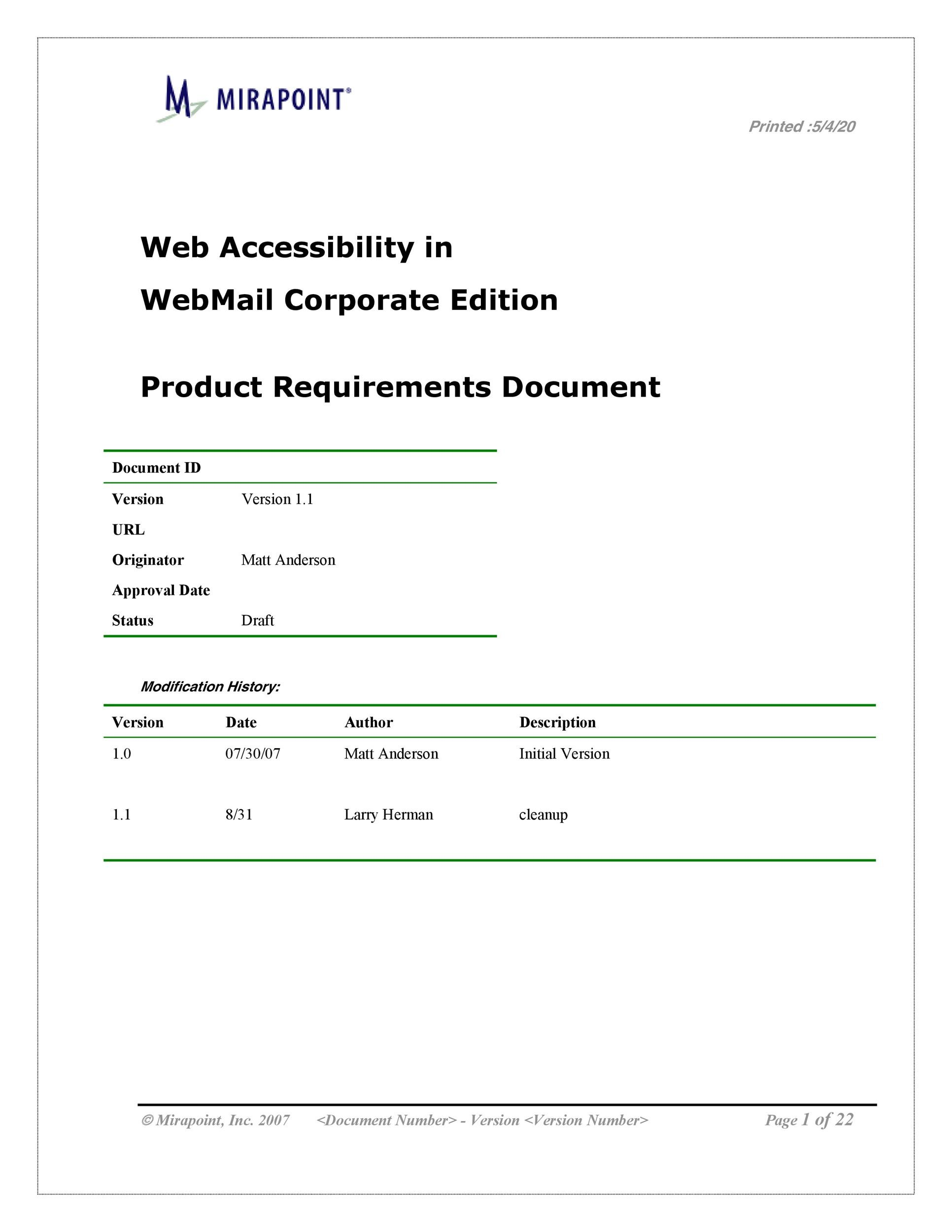 Free business requirements document template 12