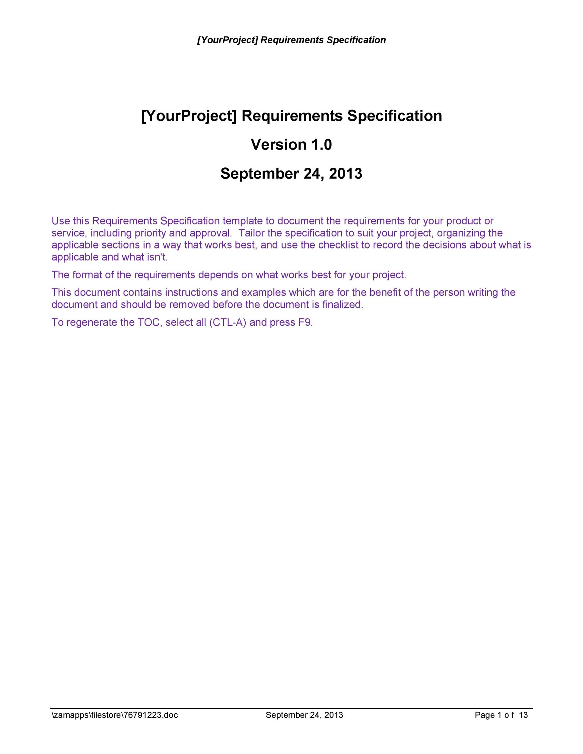 Free business requirements document template 13