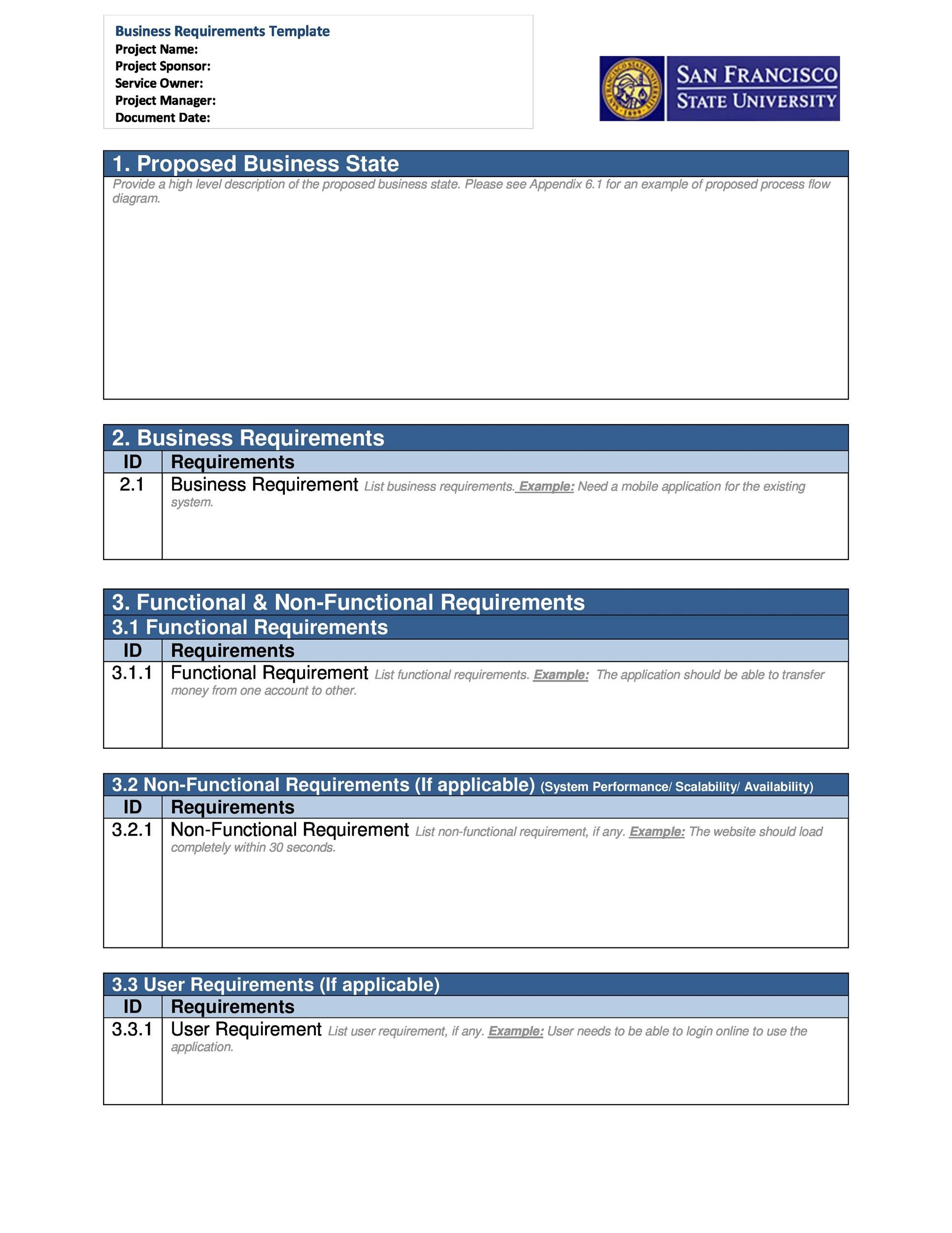 Free business requirements document template 14