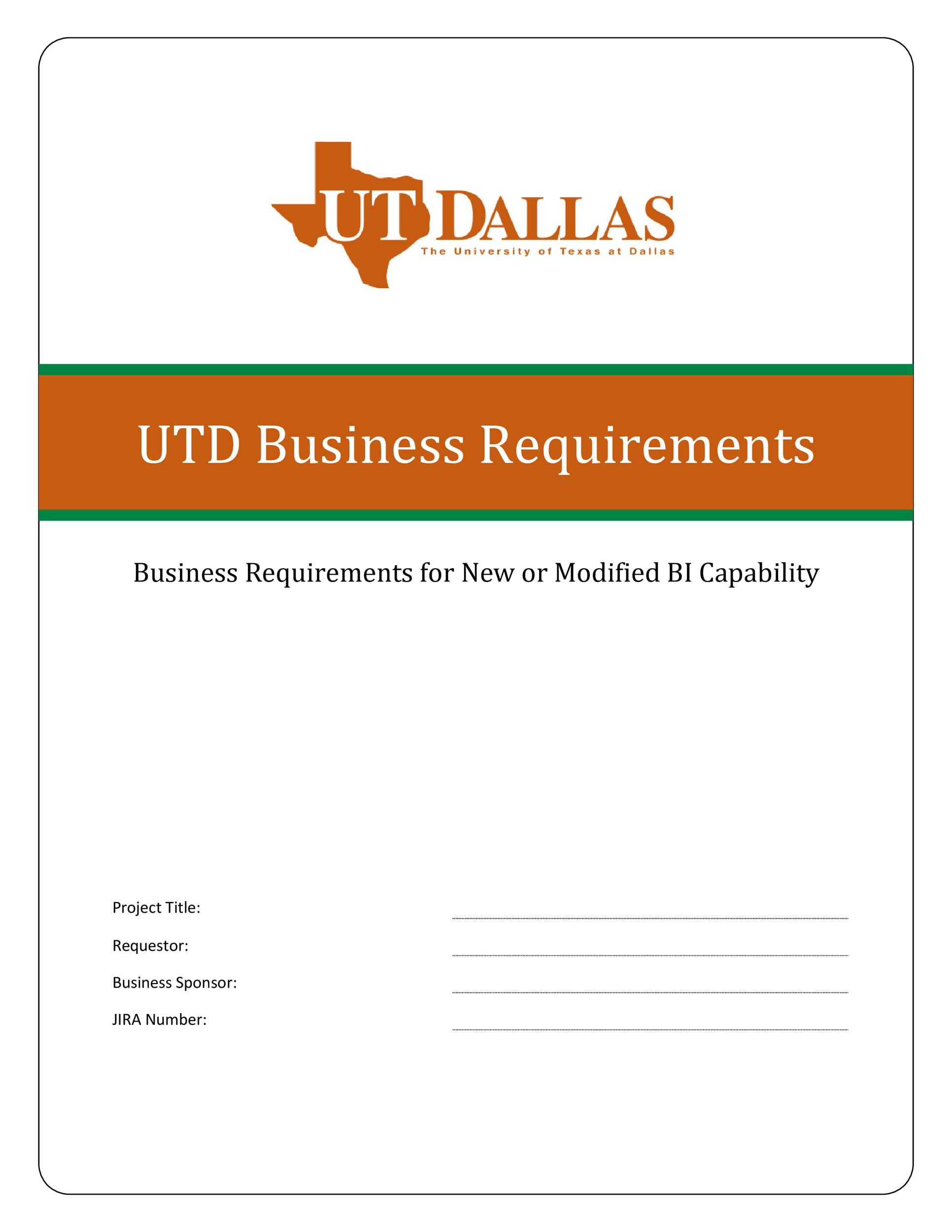Business Requirements Document Template In Word And Pdf Formats Page