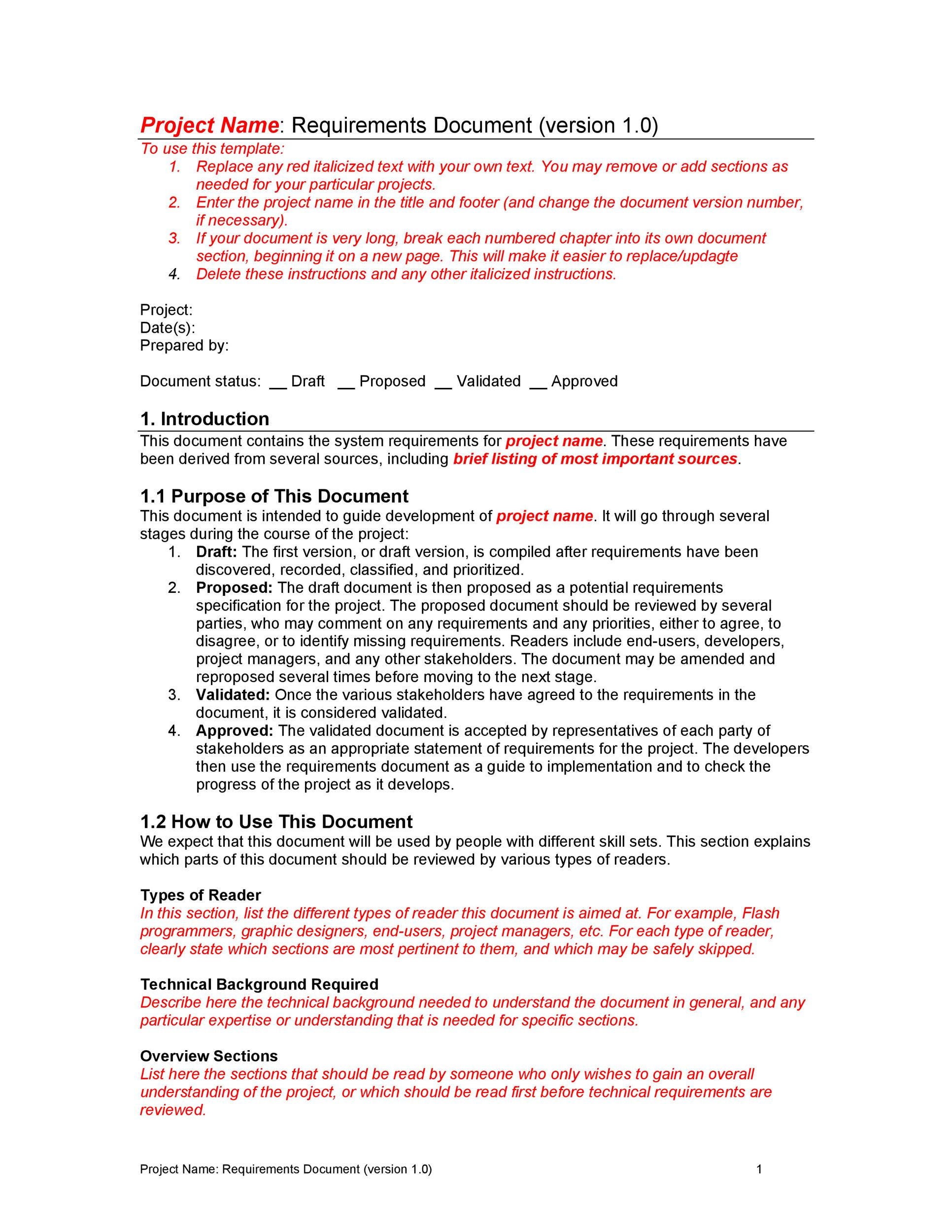 Free business requirements document template 17